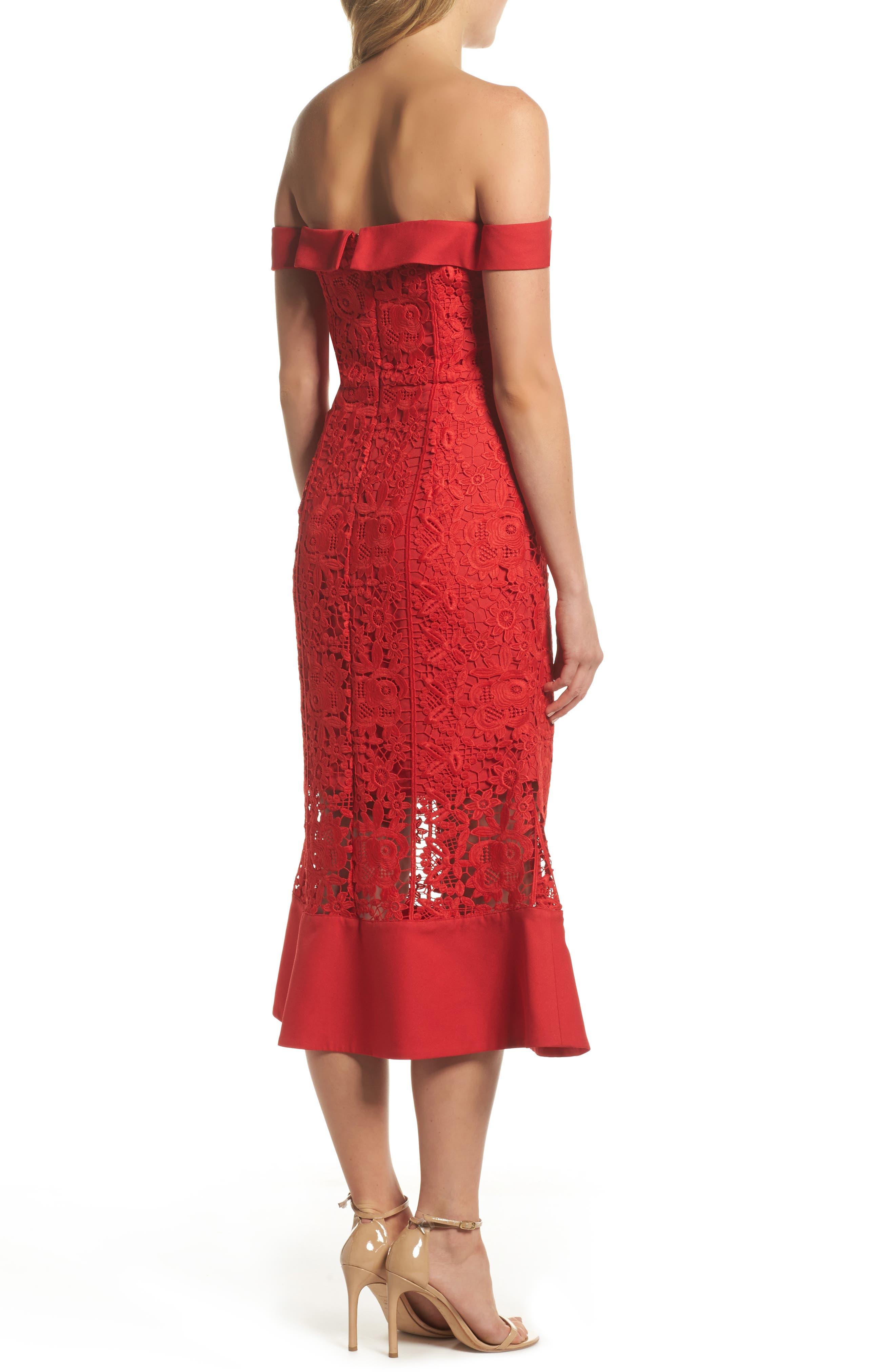 Talia Lace Off the Shoulder Midi Dress,                             Alternate thumbnail 2, color,                             Red