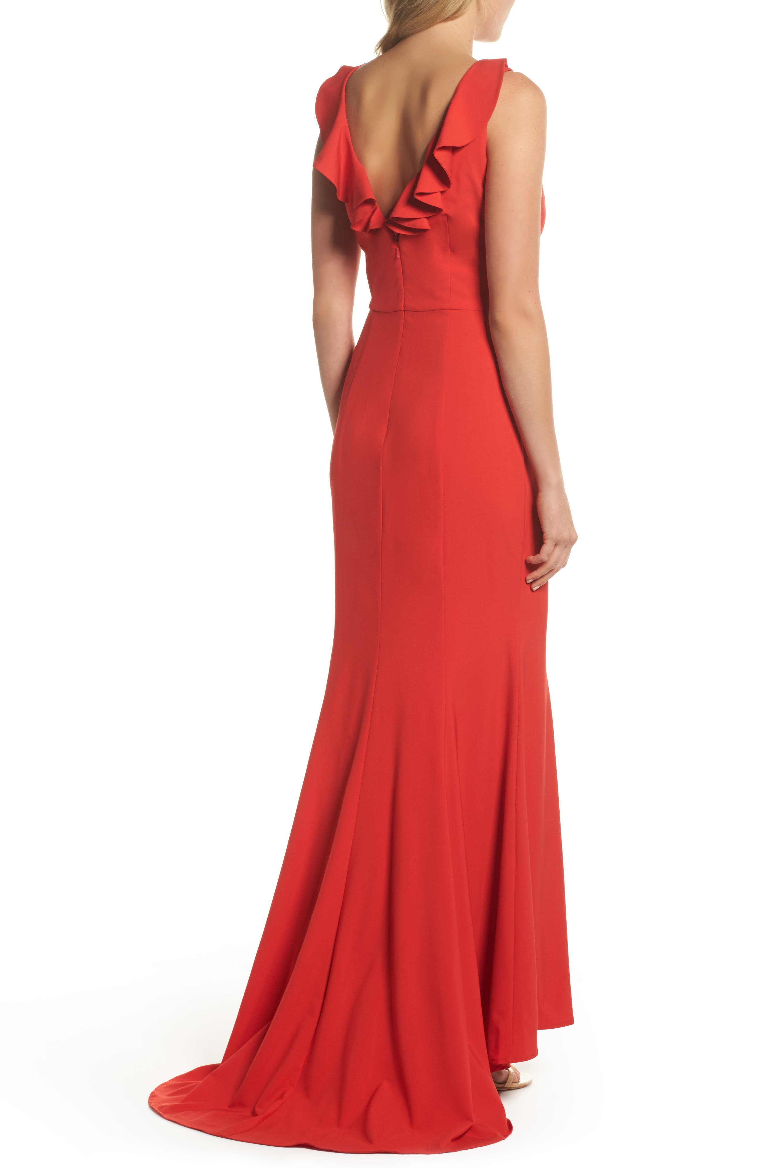 Jemima Ruffle Back Mermaid Gown,                             Alternate thumbnail 2, color,                             Red