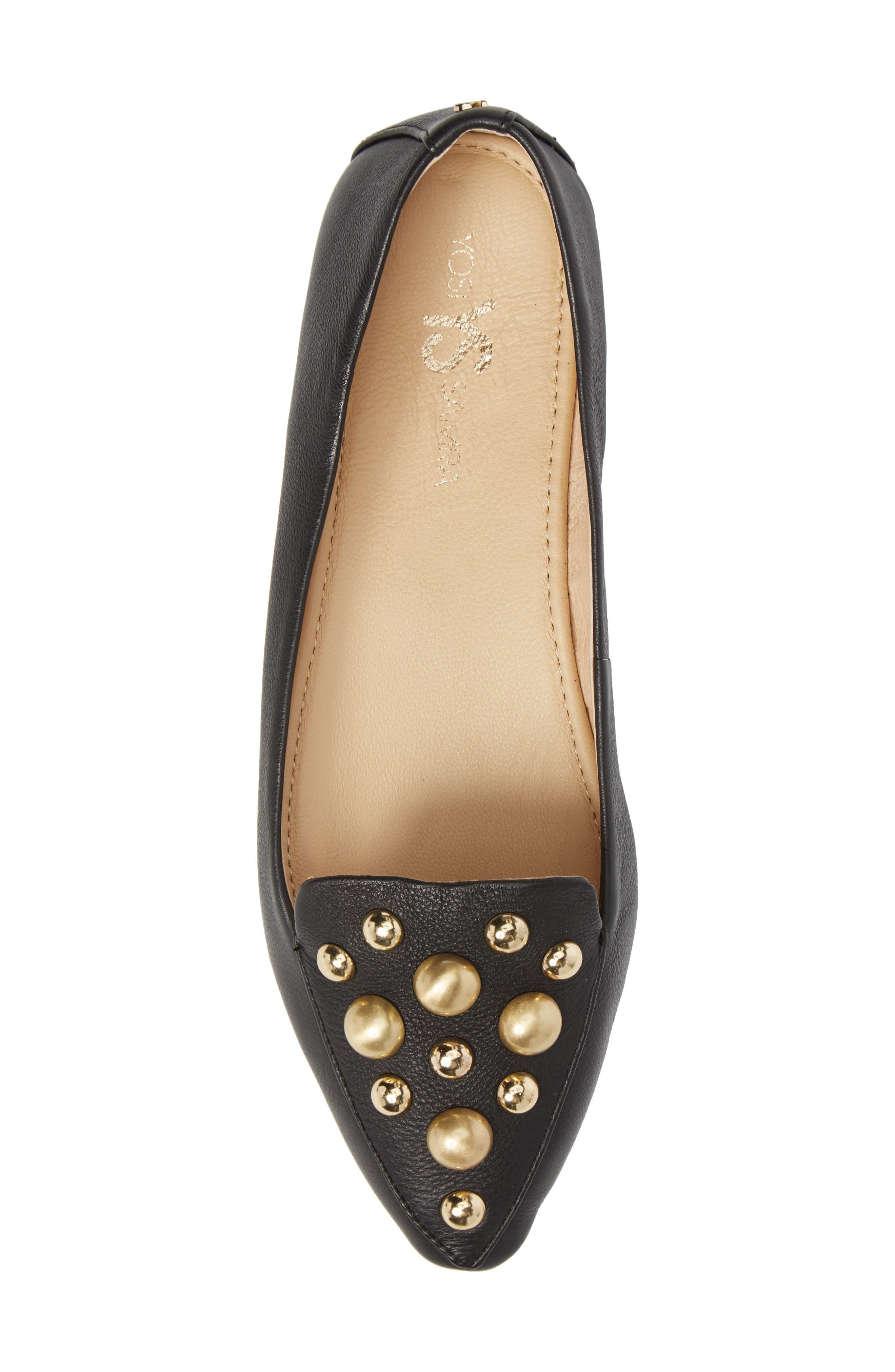 Vera Studded Loafer,                             Alternate thumbnail 5, color,                             Black/ Black Leather