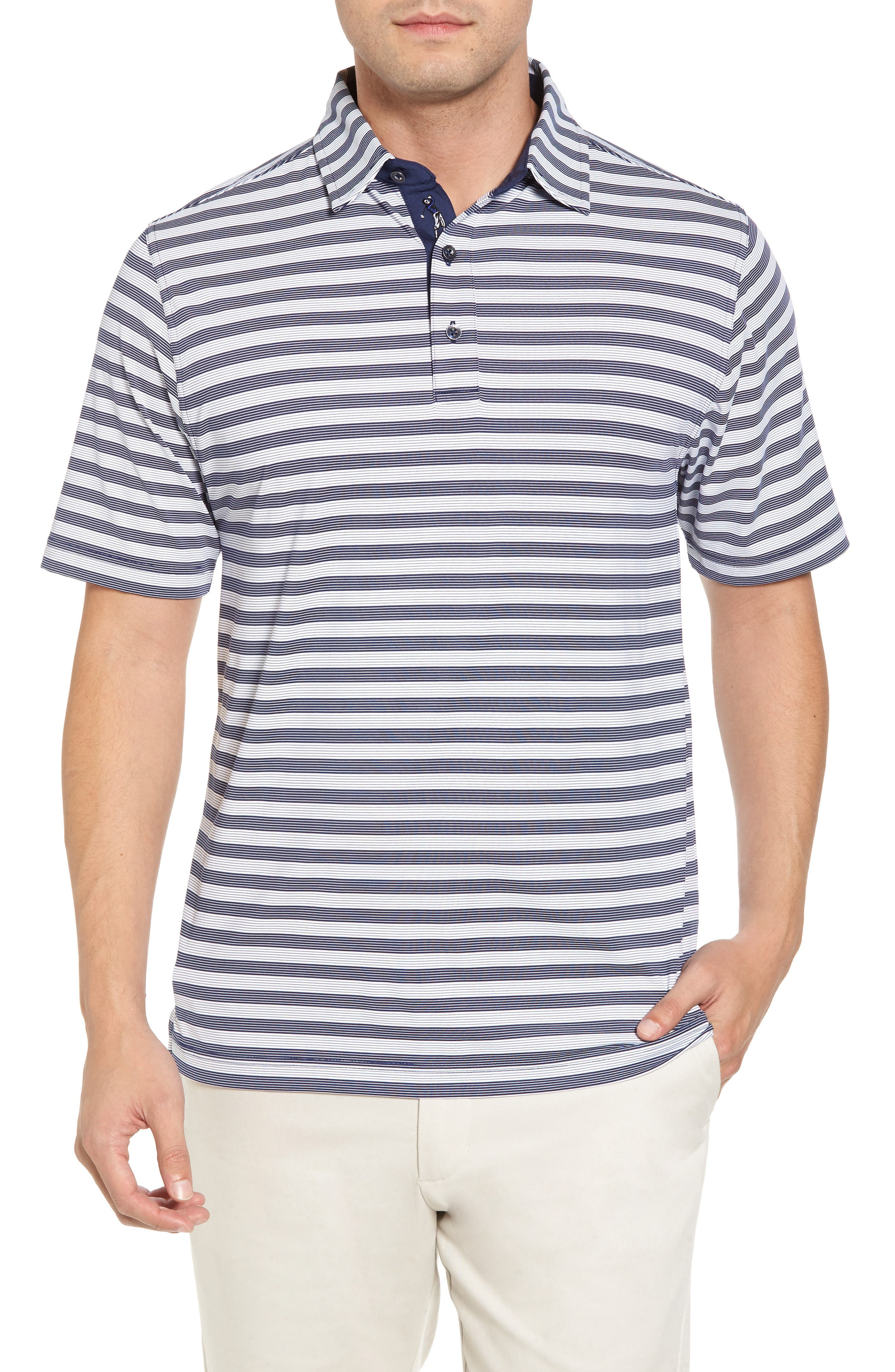 XH2O Del Mar Stripe Jersey Polo,                         Main,                         color, Summer Navy