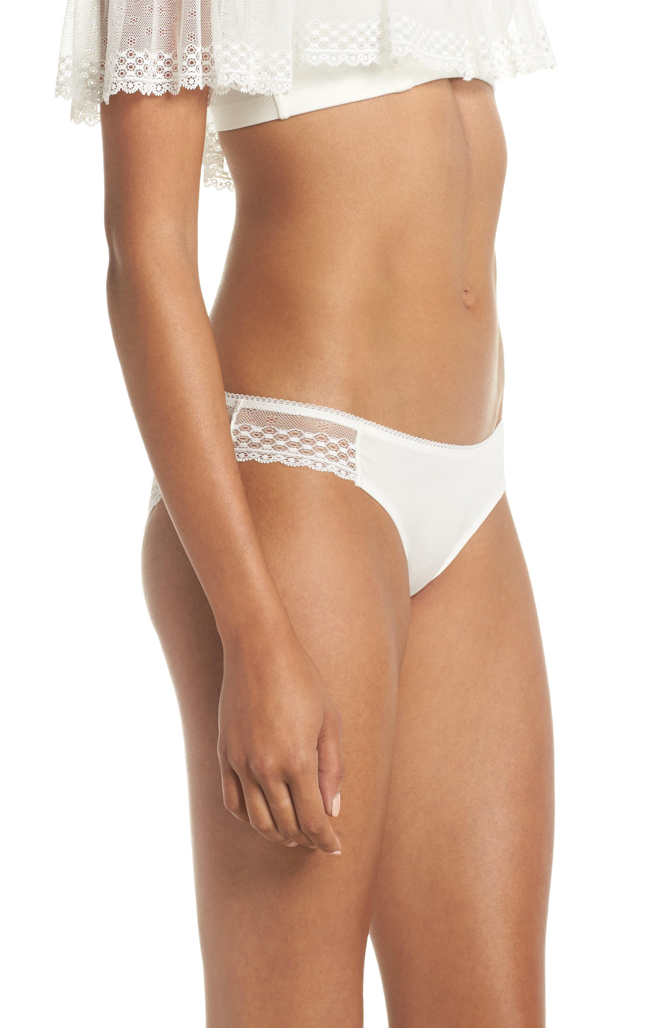 Organic Pima Cotton Blend Lace Bikini,                             Alternate thumbnail 3, color,                             White