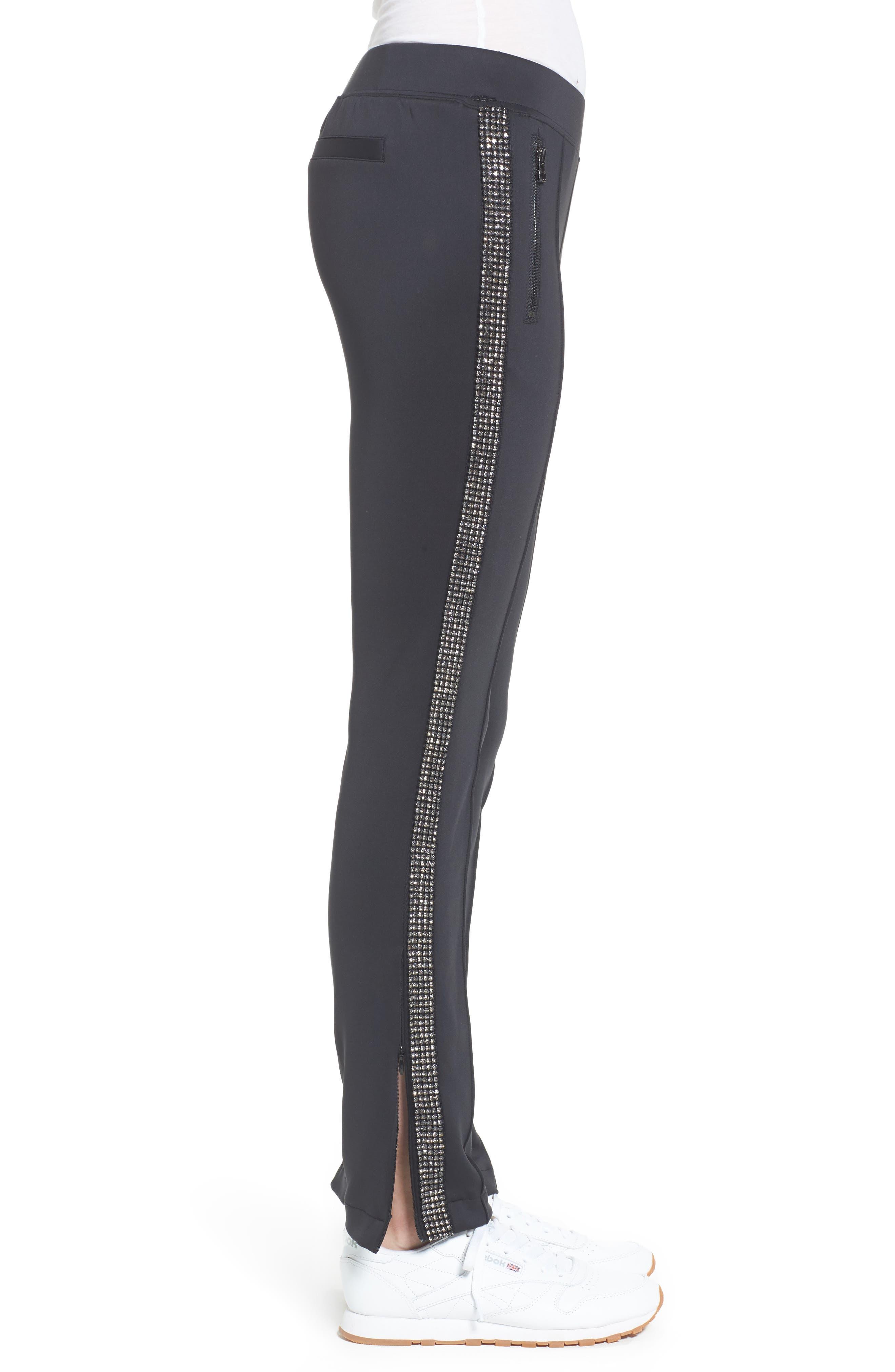 Rhinestone Side Stripe Track Pants,                             Alternate thumbnail 3, color,                             Black