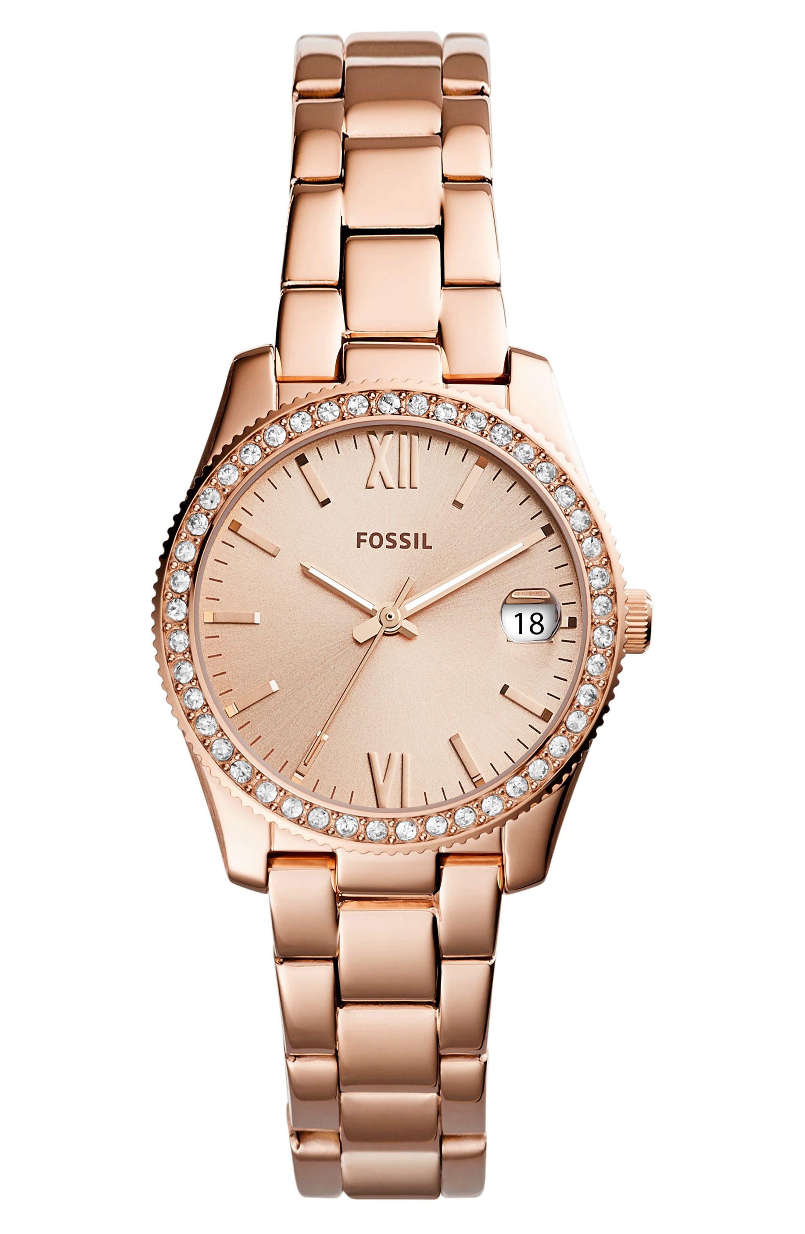 Scarlette Crystal Bracelet Watch, 32mm,                             Main thumbnail 1, color,                             Rose Gold