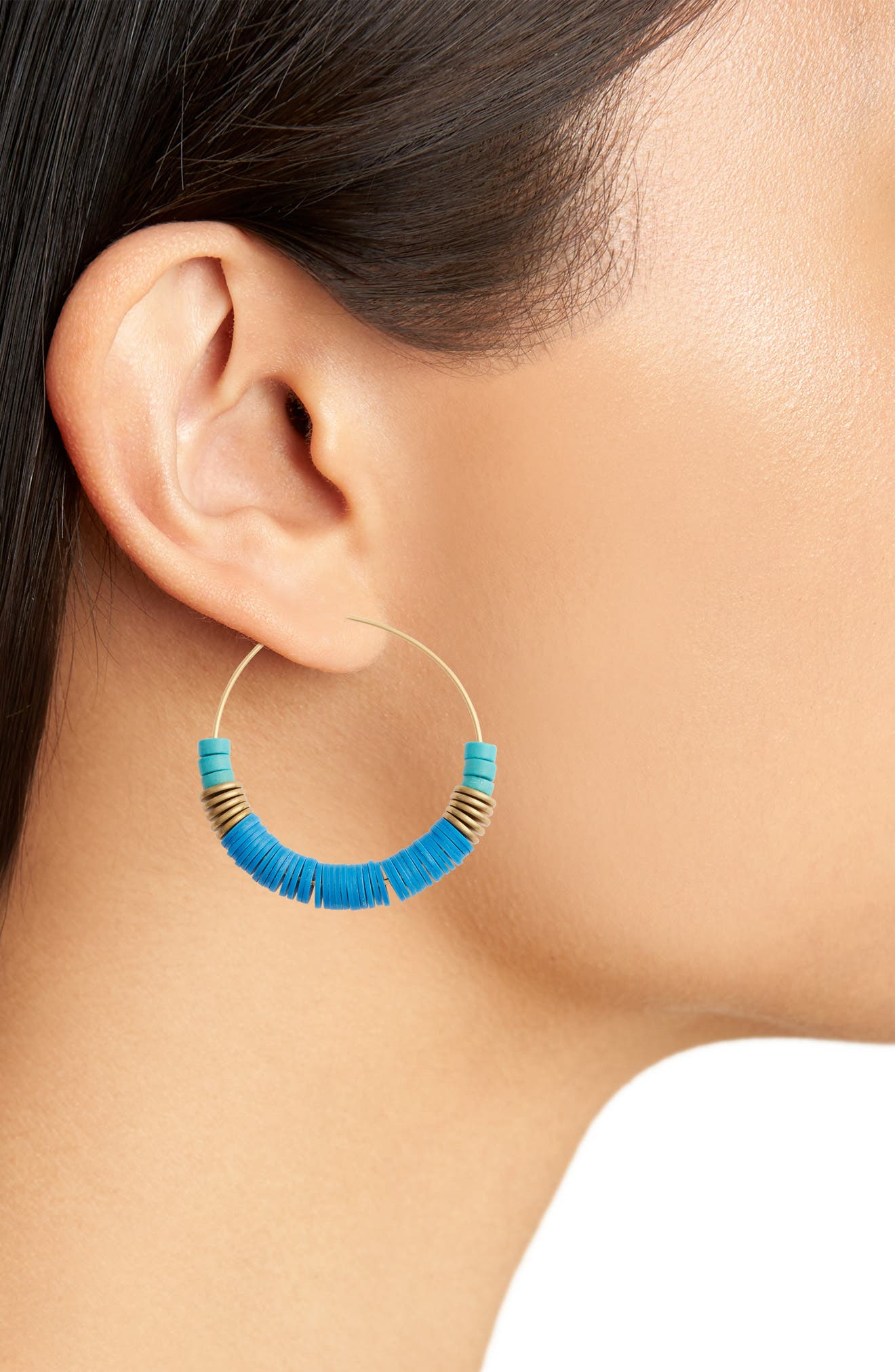Rylee Hoop Earrings,                             Alternate thumbnail 2, color,                             Blue/ Gold