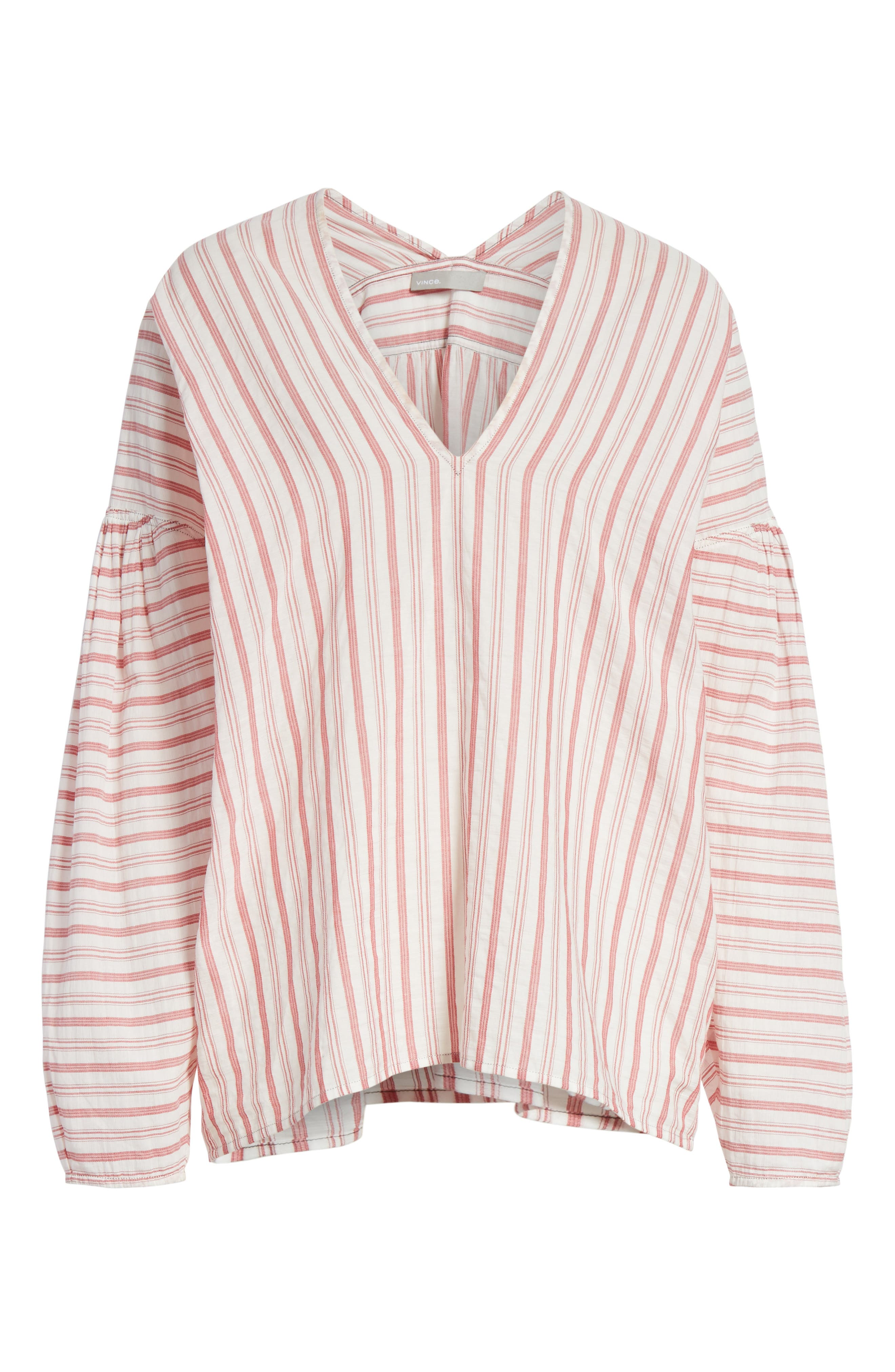 Stripe Cotton Top,                             Alternate thumbnail 6, color,                             Off White/ Poppy