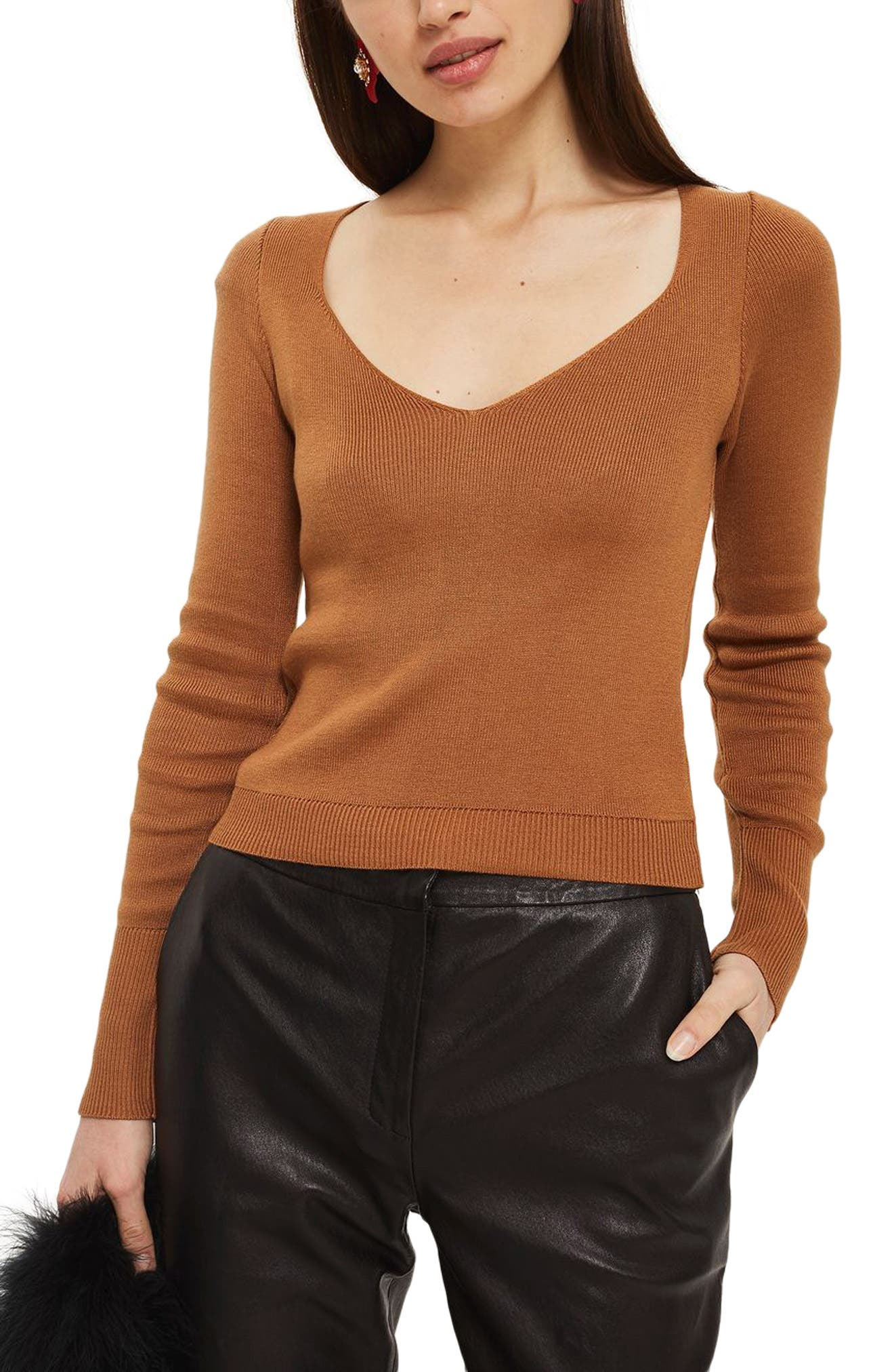 Sweetheart Neck Sweater,                         Main,                         color, Brown