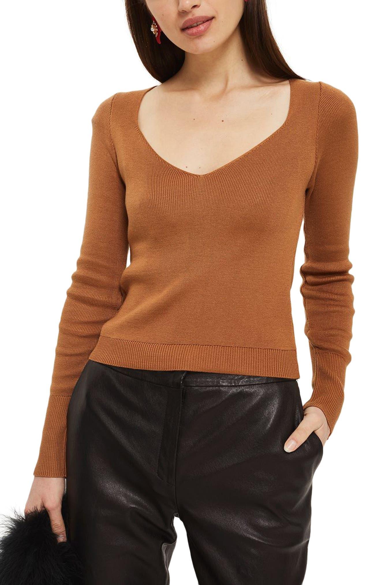 Topshop Sweetheart Neck Sweater (Petite)