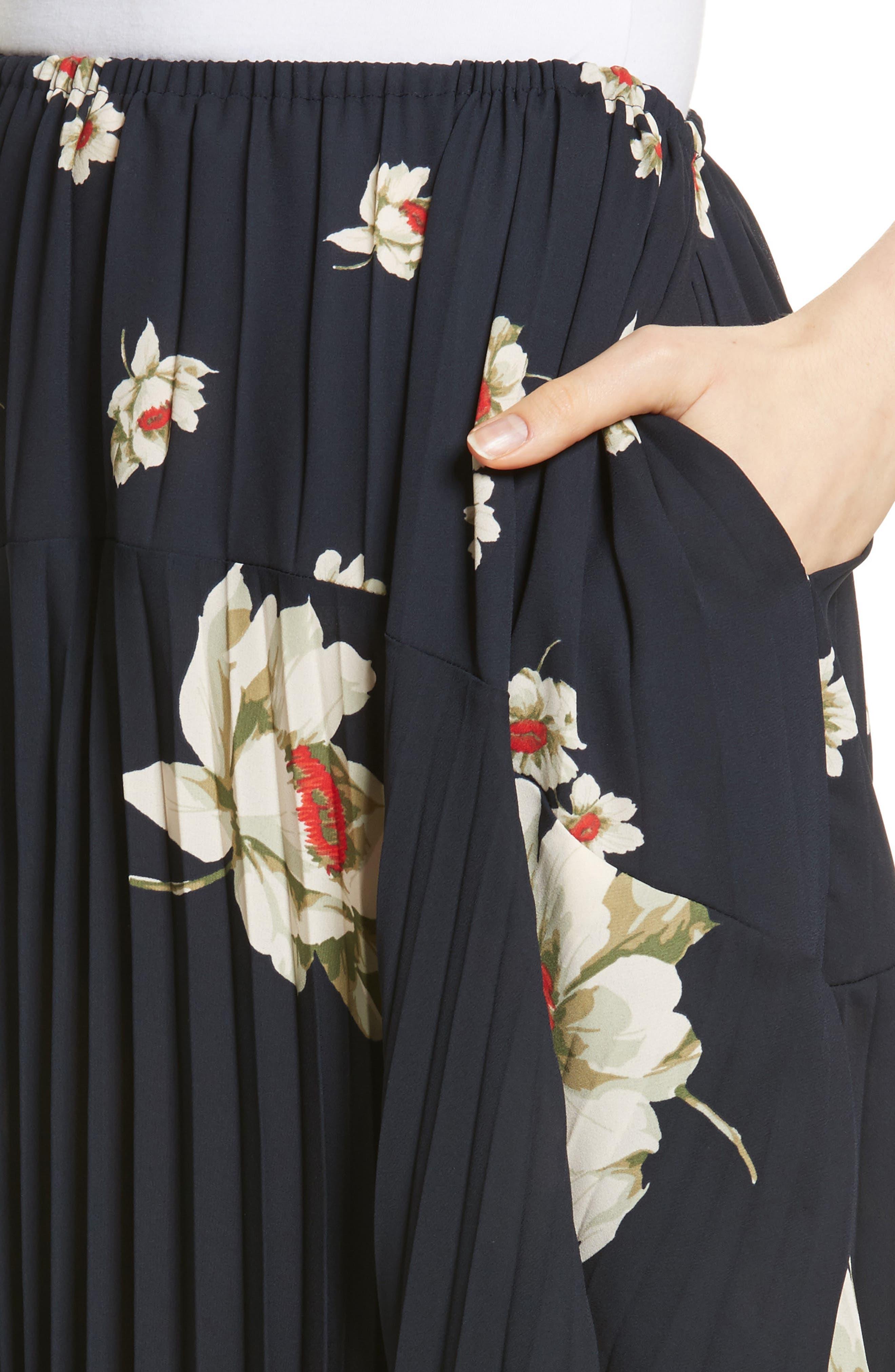 Gardenia Floral Pleated Skirt,                             Alternate thumbnail 4, color,                             Coastal