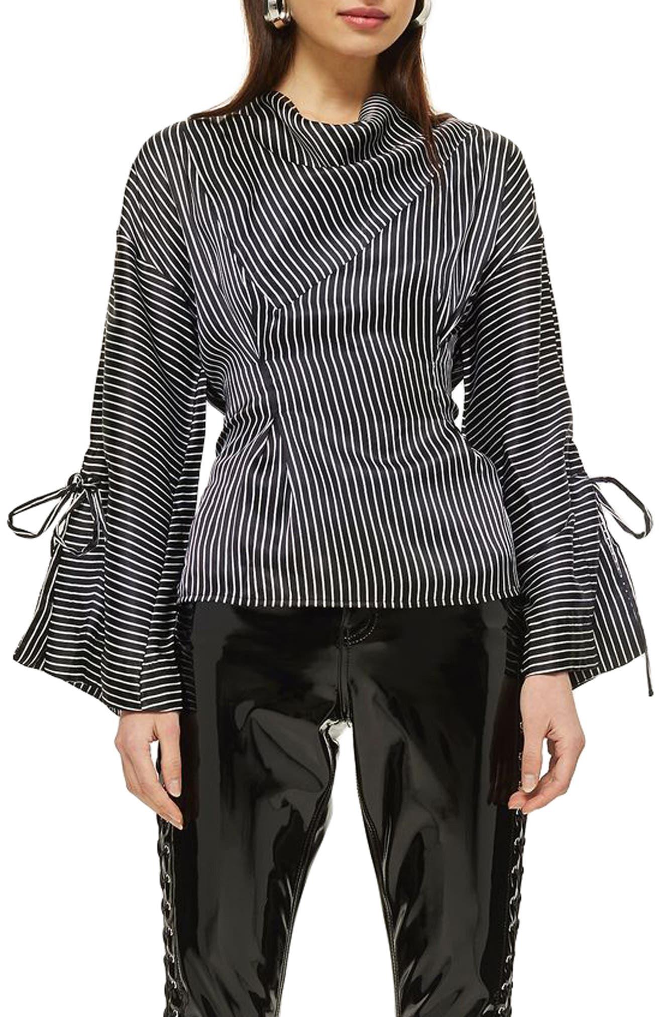 Drape Neck Twisted Stripe Blouse,                             Main thumbnail 1, color,                             Black Multi