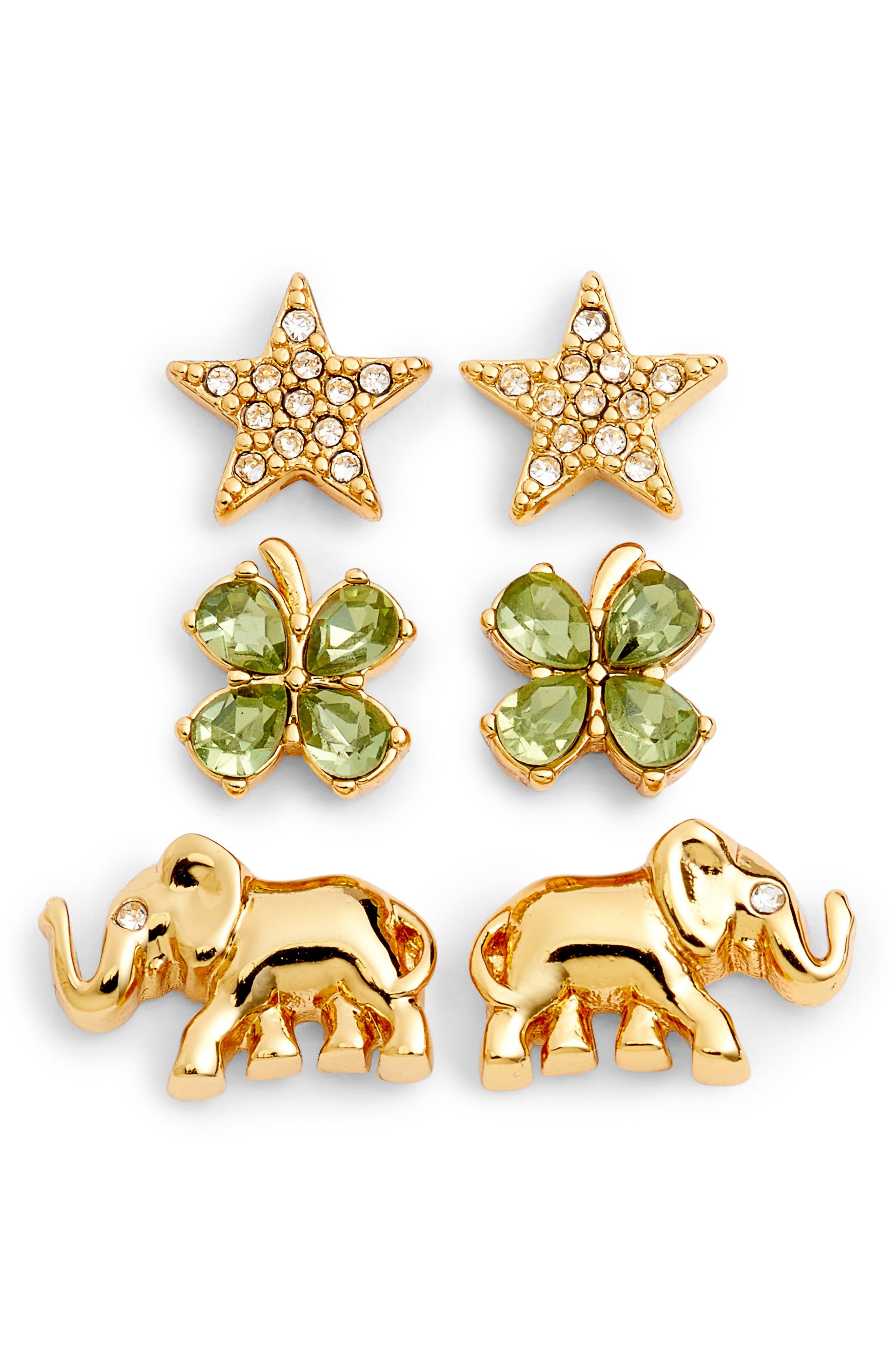 Alternate Image 1 Selected - kate spade new york things we love good luck set of 3 stud earrings
