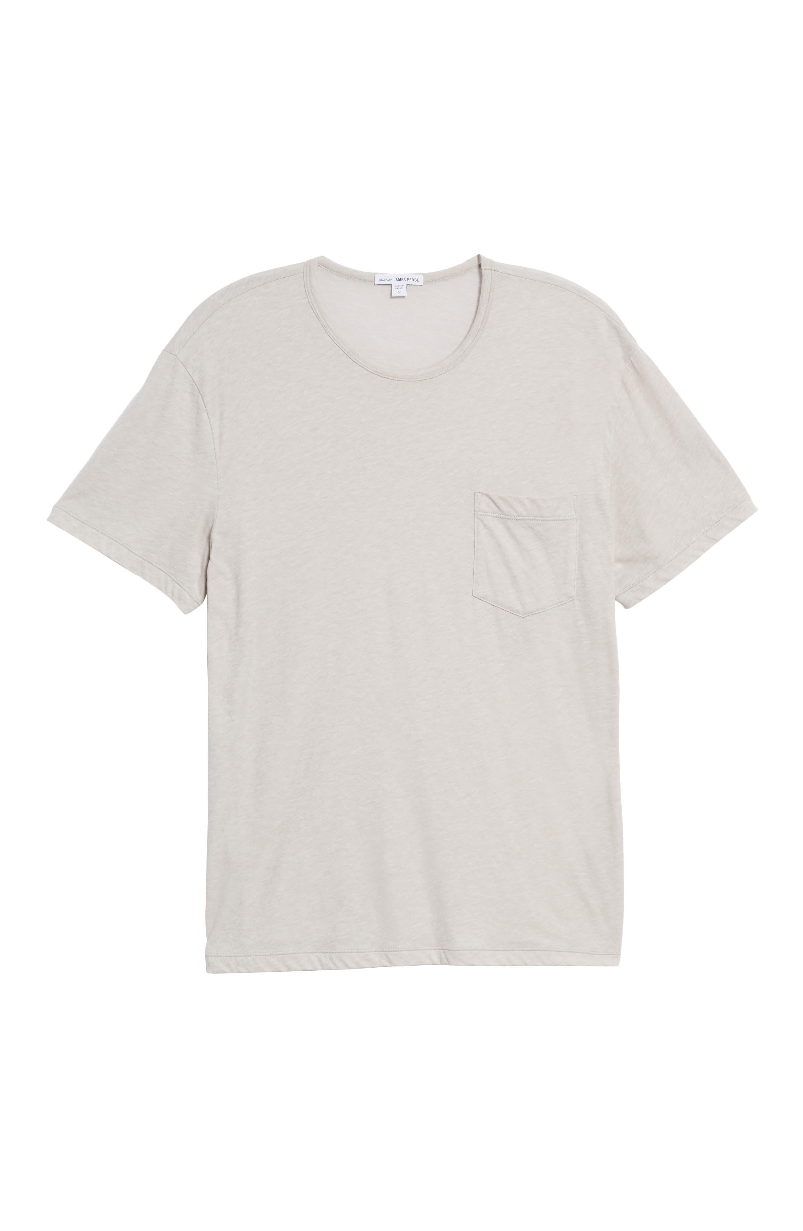 Slubbed Cotton & Linen Pocket T-Shirt,                             Alternate thumbnail 6, color,                             Fossil Melange