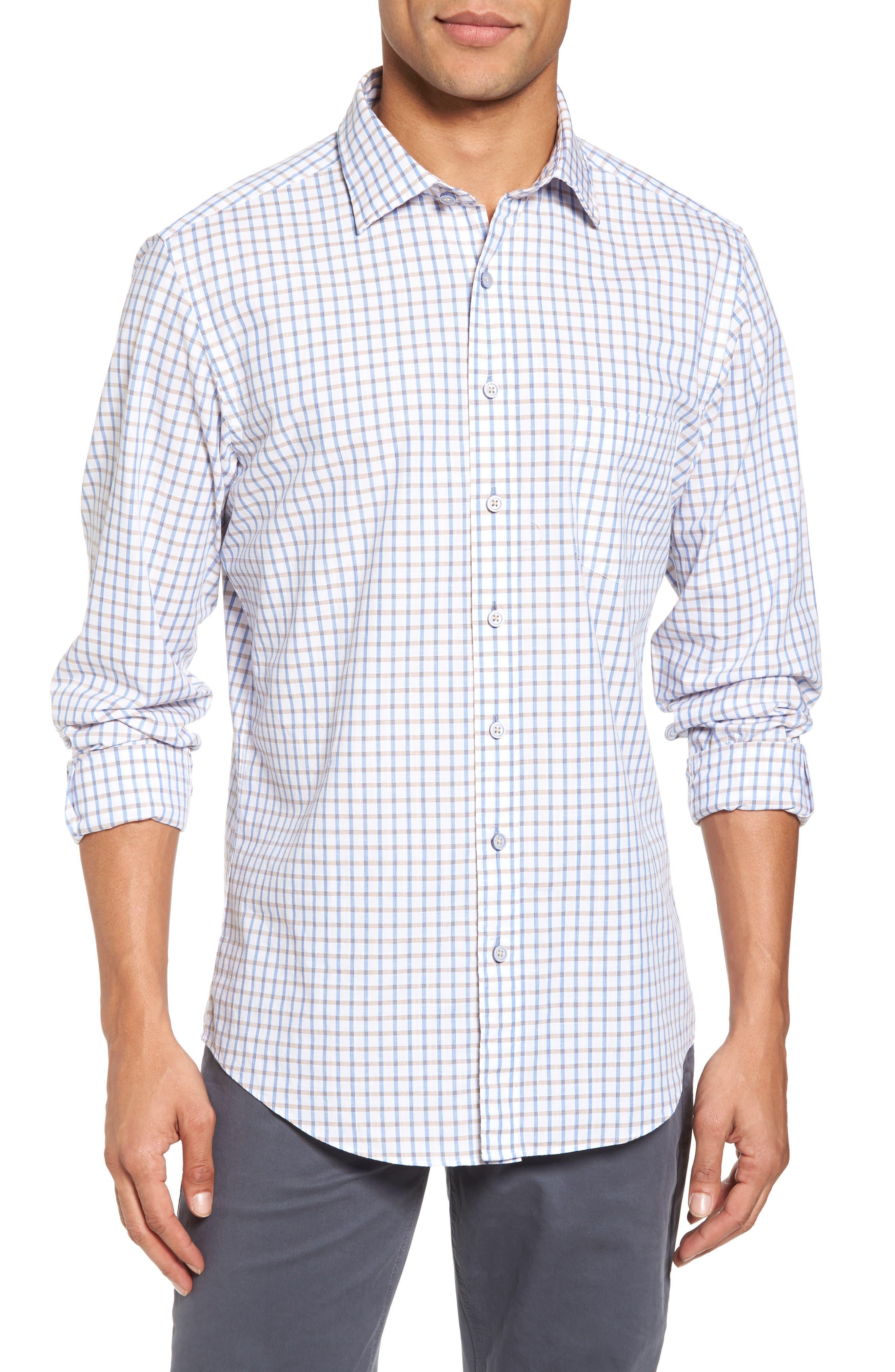 Mount Edward Check Sport Shirt,                         Main,                         color, Snow