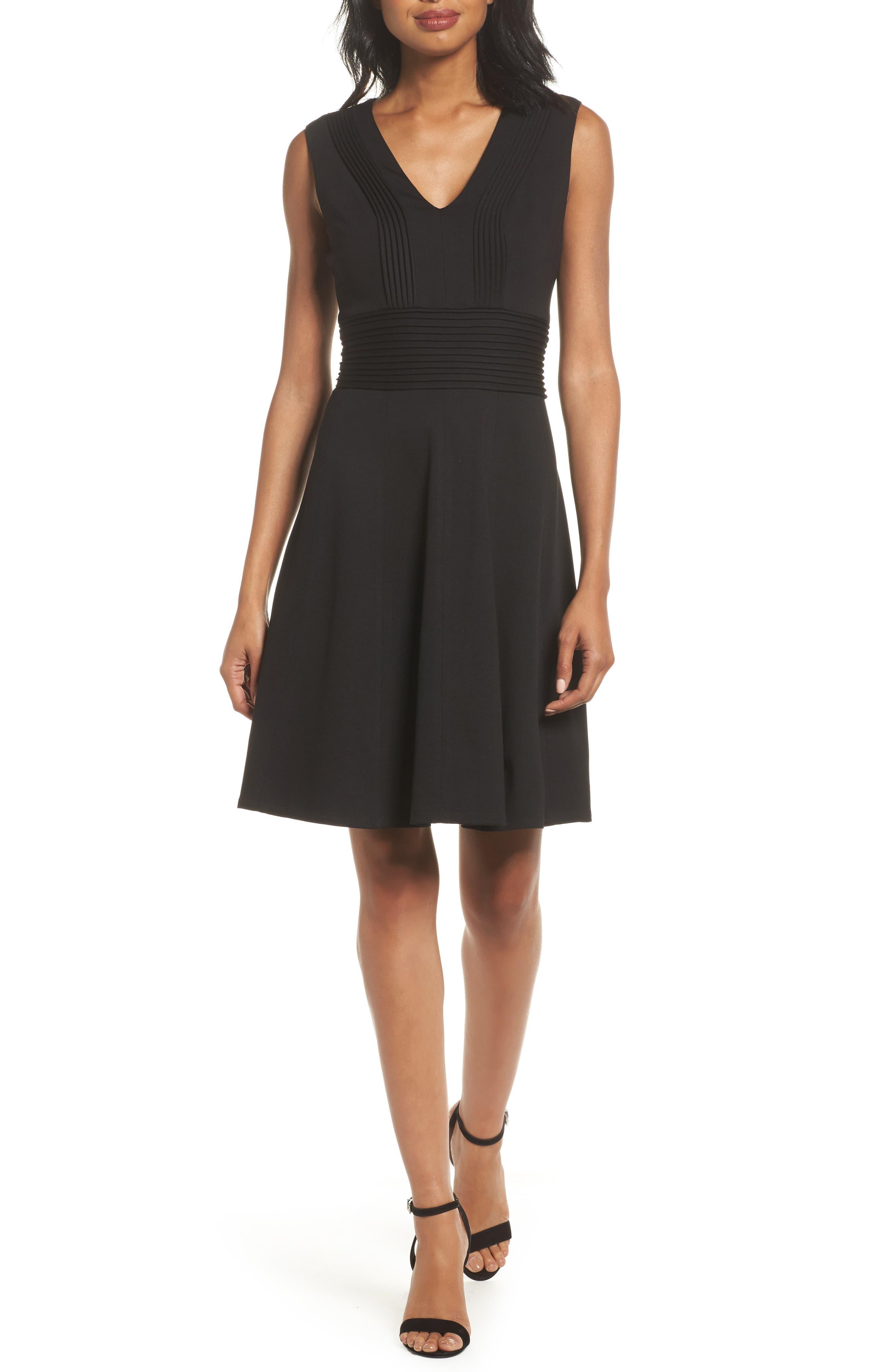 Pintuck Fit & Flare Dress,                         Main,                         color, Black