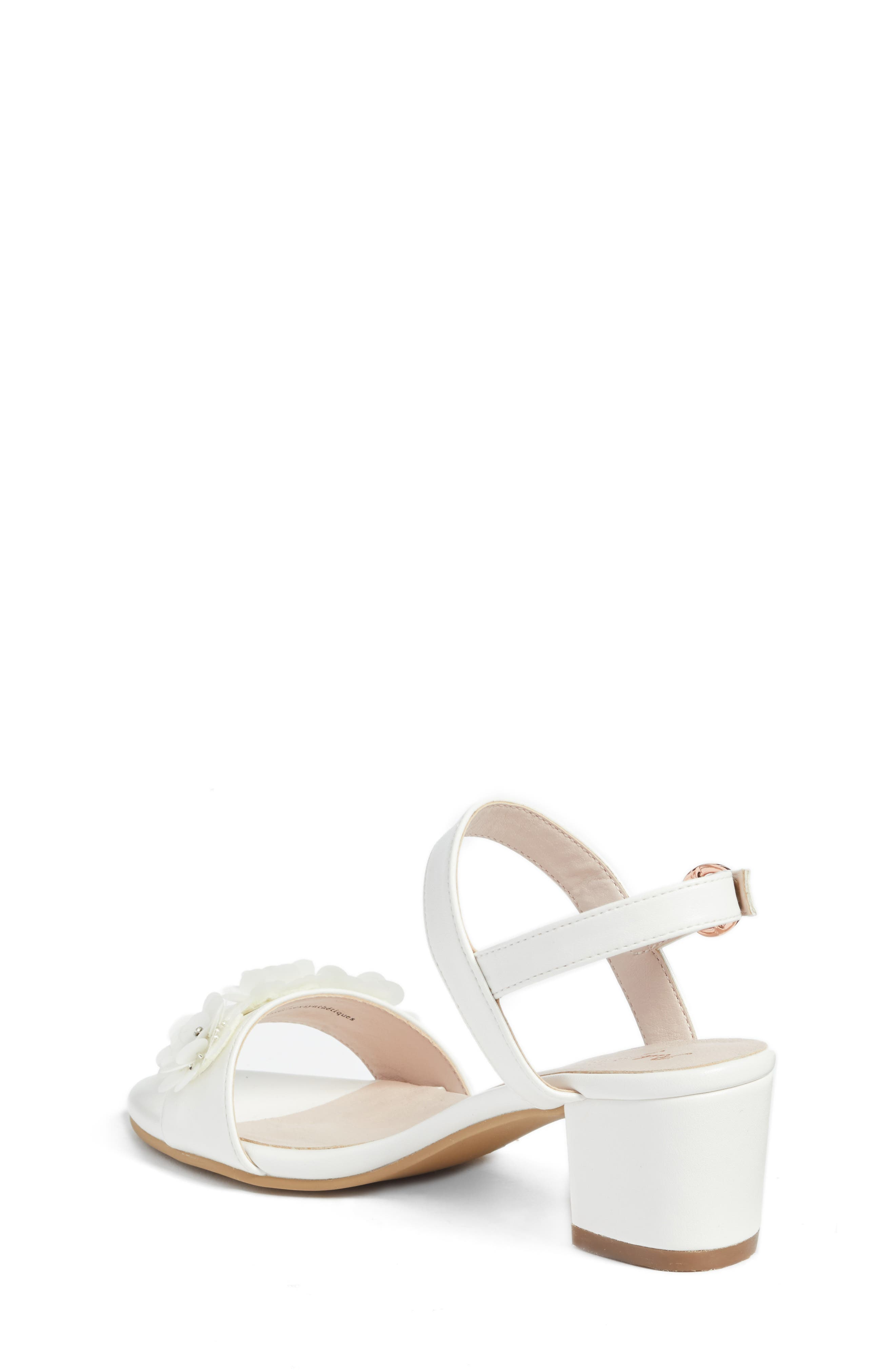 Dina Flowered Sandal,                             Alternate thumbnail 2, color,                             White Faux Leather