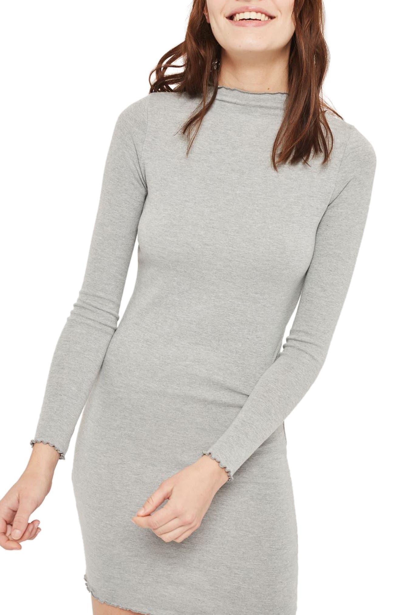 Lettuce Edge Body-Con Dress,                         Main,                         color, Grey