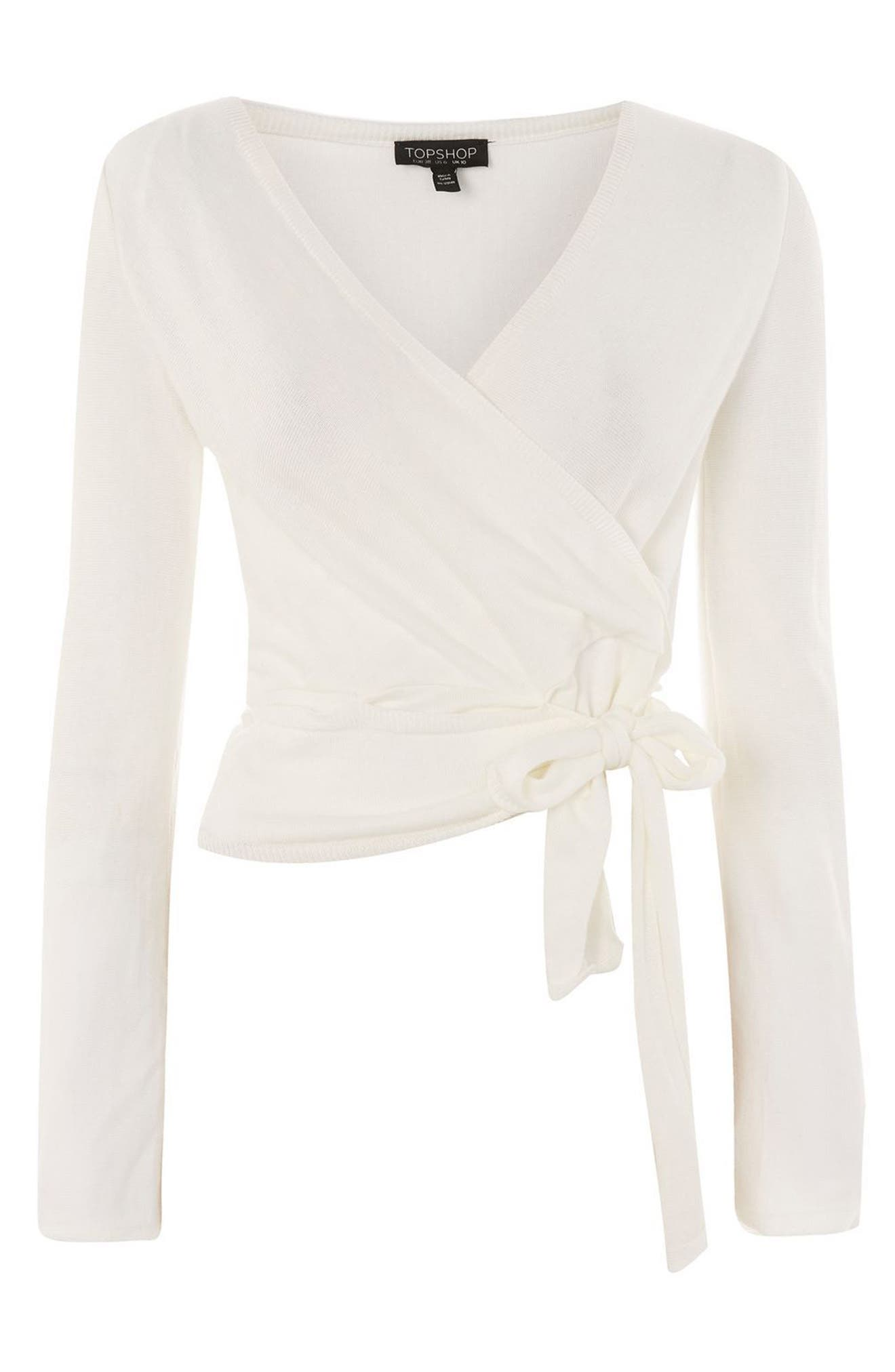 Knotted Wrap Top,                             Alternate thumbnail 3, color,                             Ivory