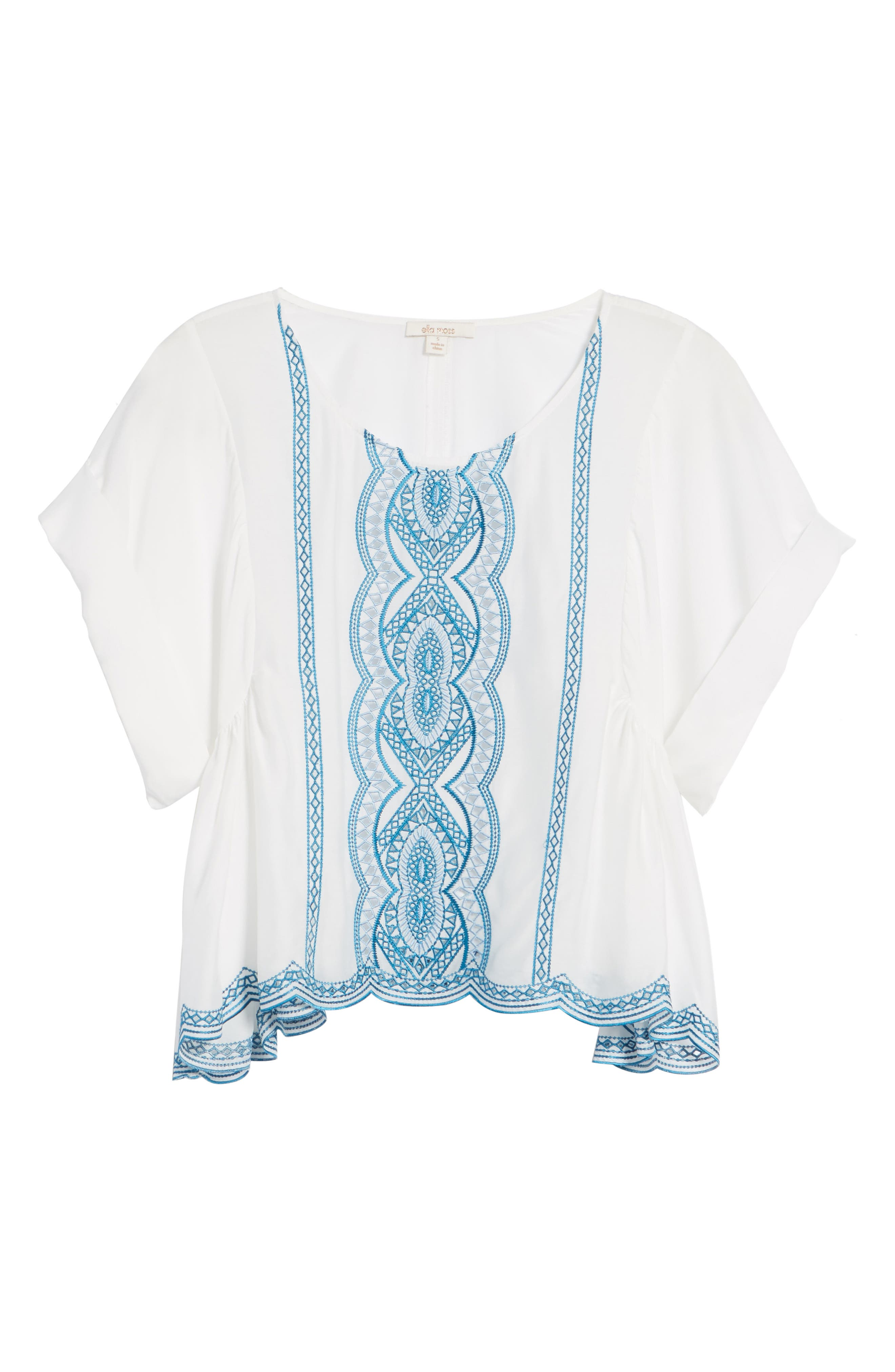 Embroidered Top,                             Alternate thumbnail 6, color,                             Natural