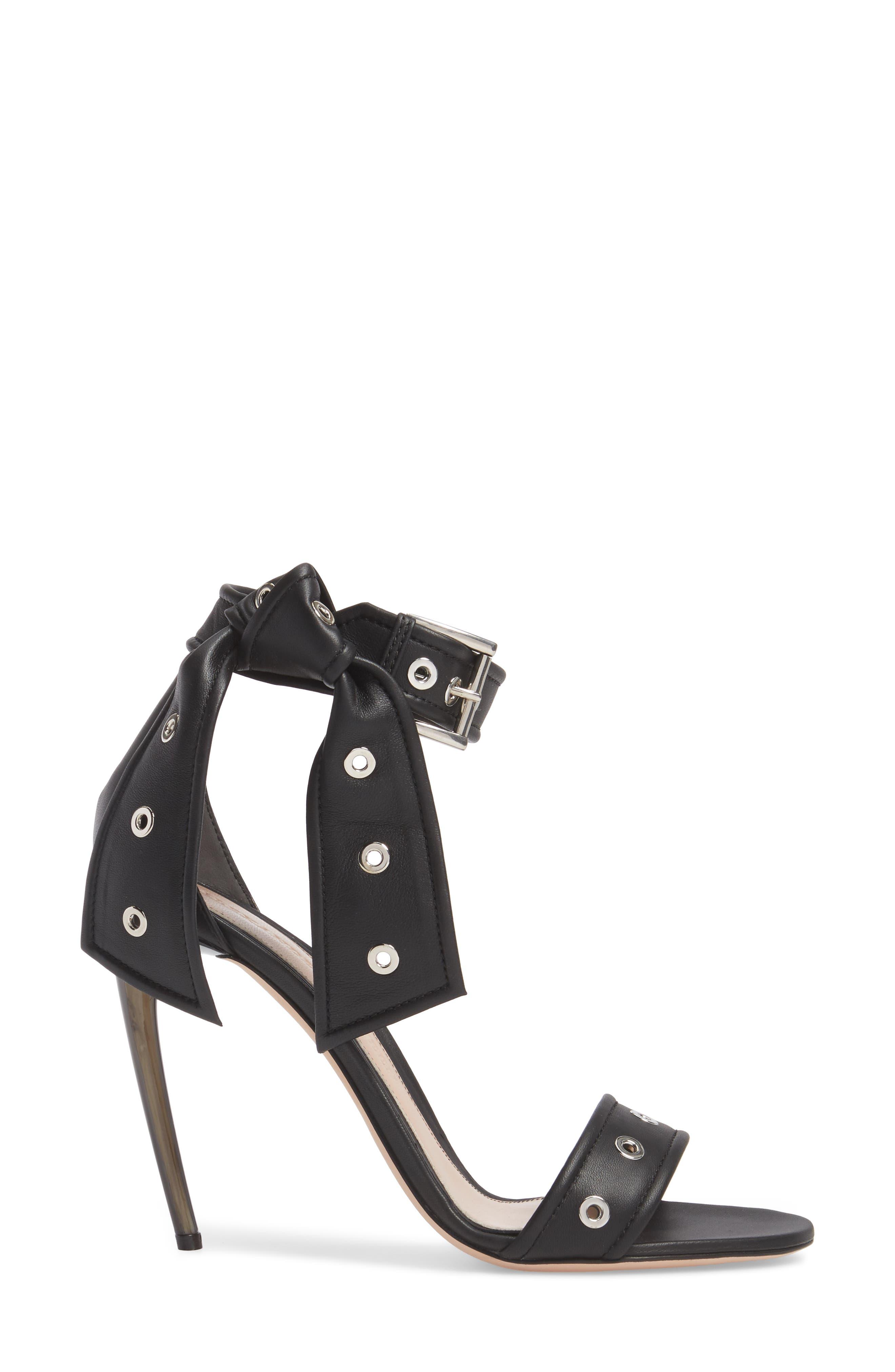 Grommet Ankle Strap Sandal,                             Alternate thumbnail 3, color,                             Black