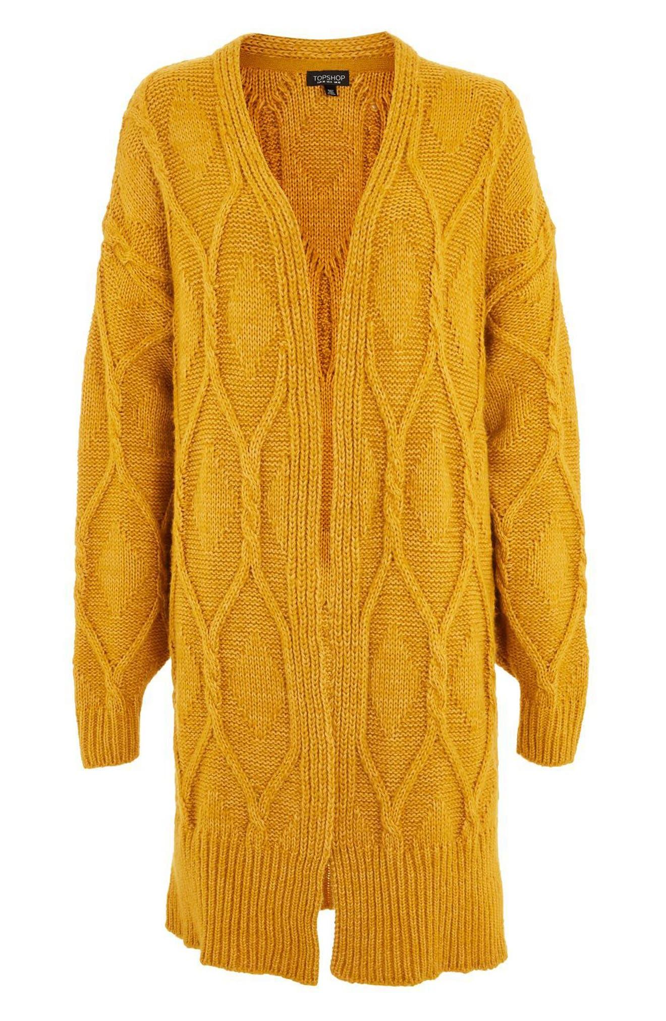Longline Cable Cardigan,                             Alternate thumbnail 5, color,                             Mustard