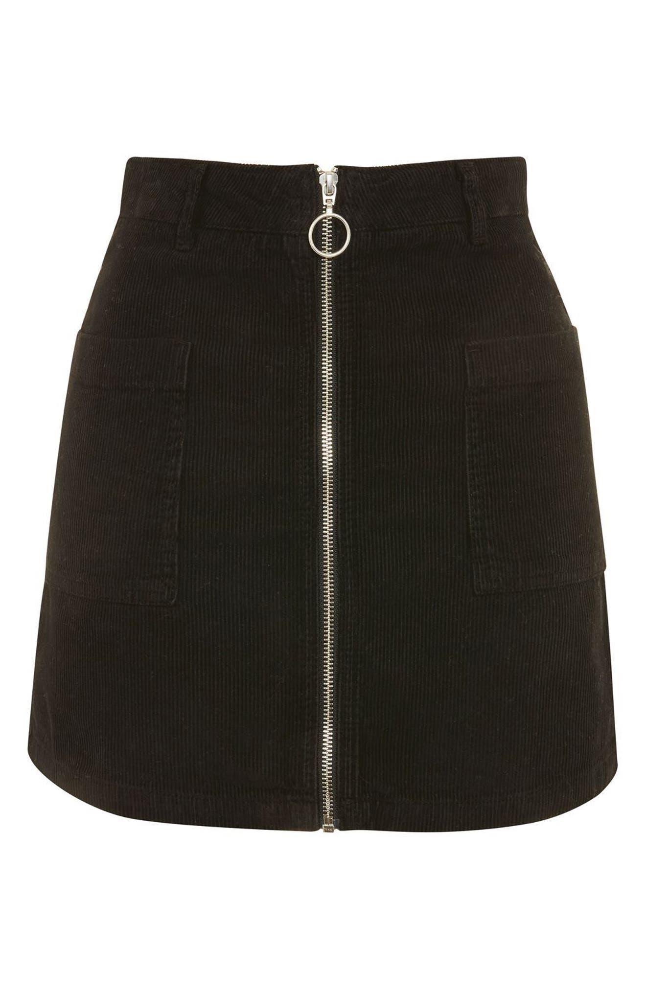 Alternate Image 4  - Topshop Zip Through Corduroy Skirt