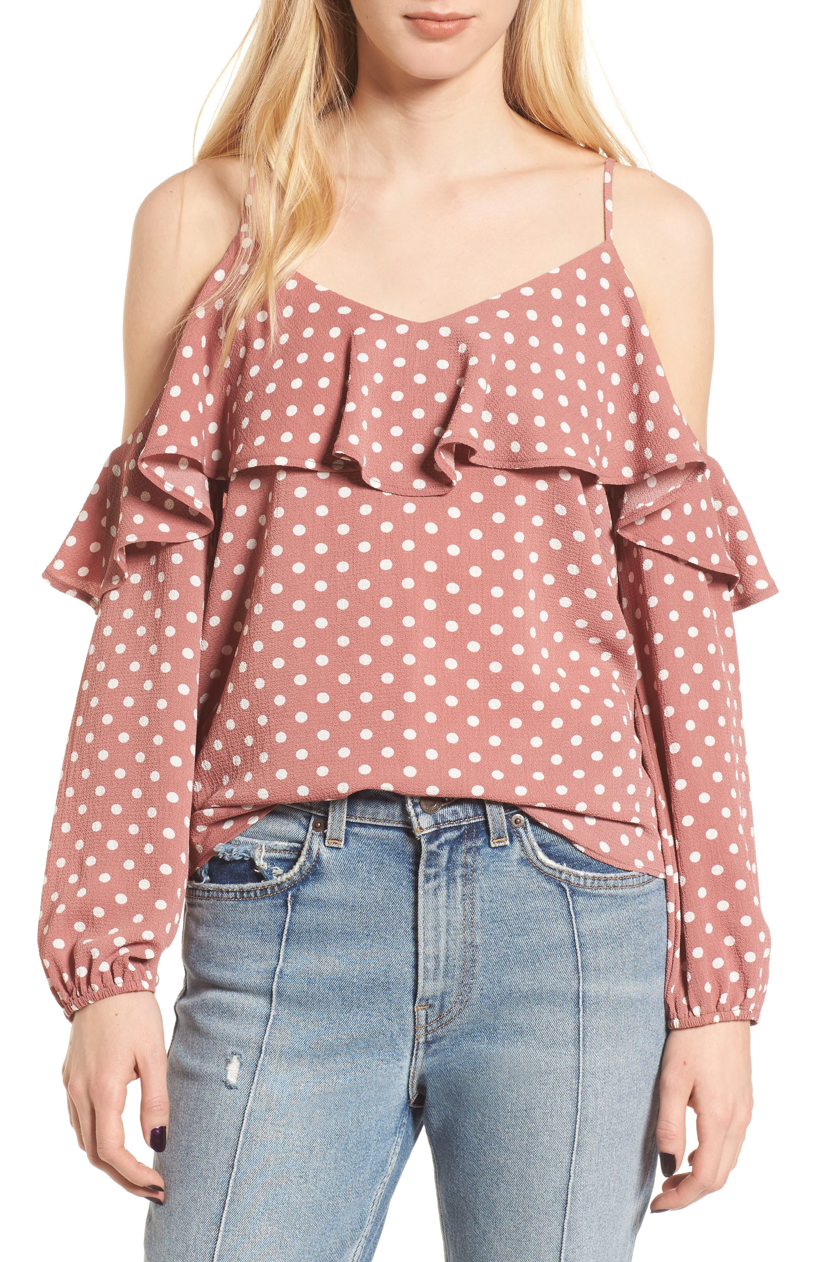 Polka Dot Cold Shoulder Top,                         Main,                         color, Pink Polka Dot