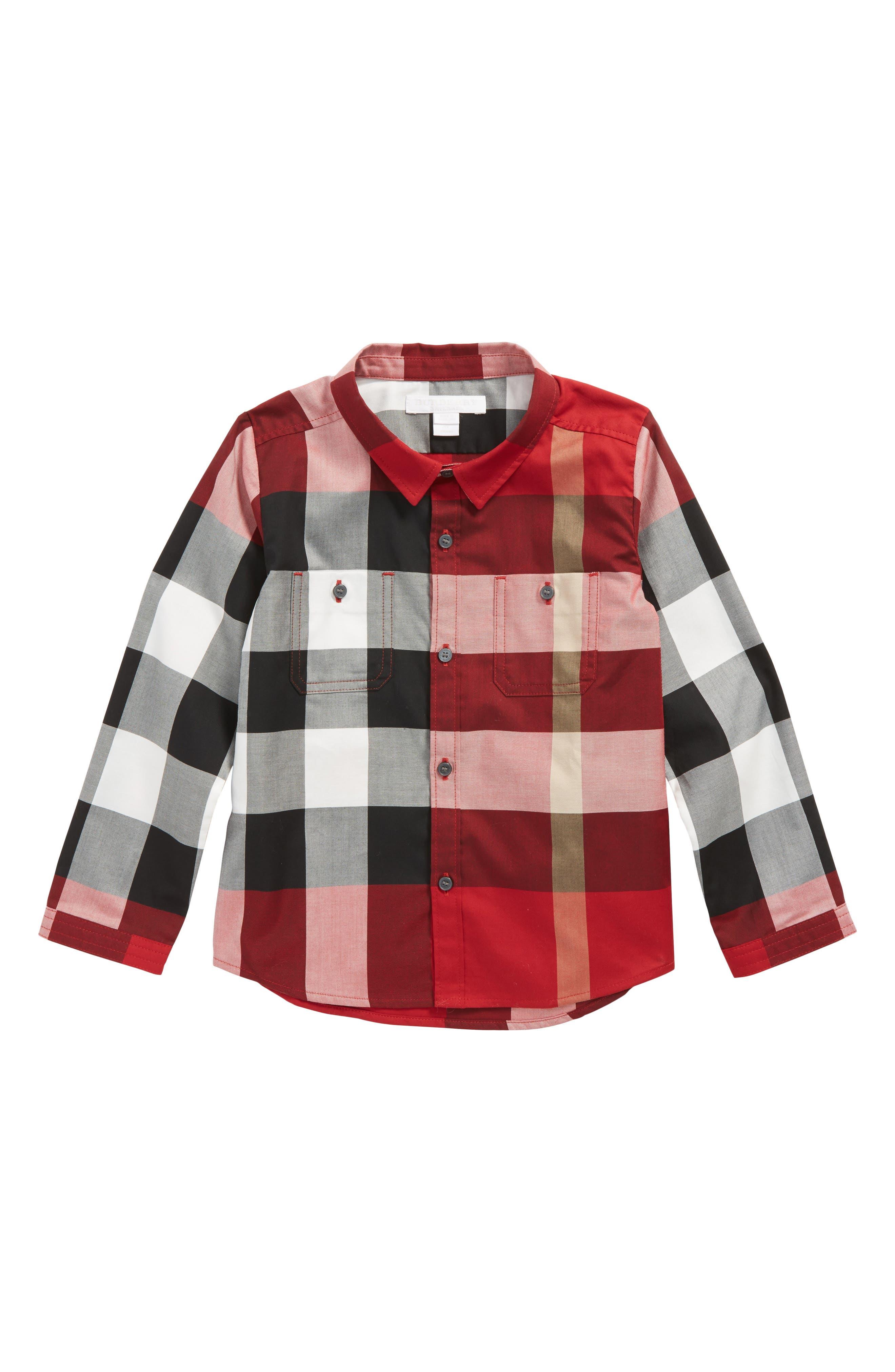 Mini Camber Check Shirt,                         Main,                         color, Parade Red