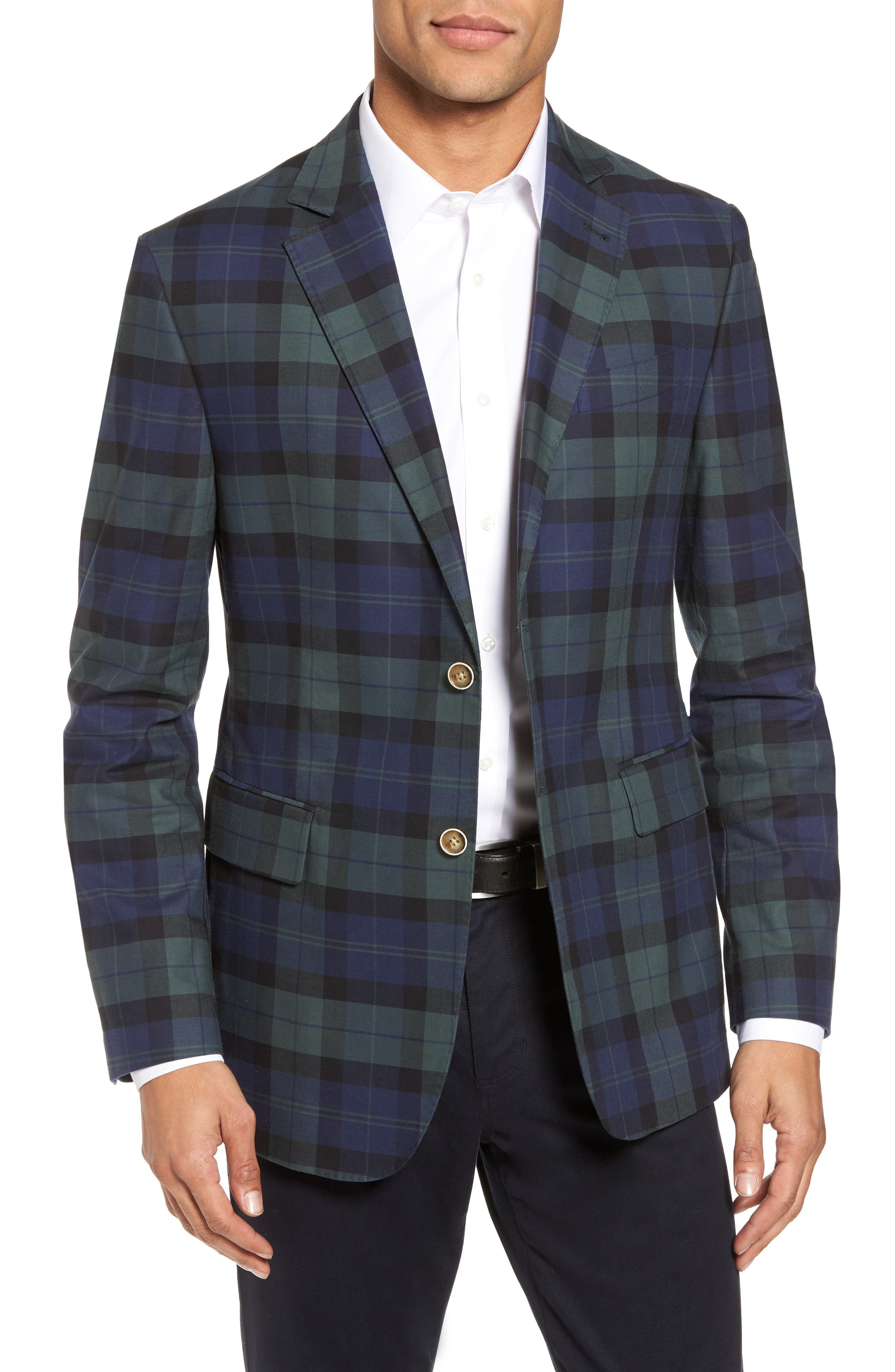 Classic Fit Blackwatch Plaid Sport Coat,                         Main,                         color, Baltic Blue