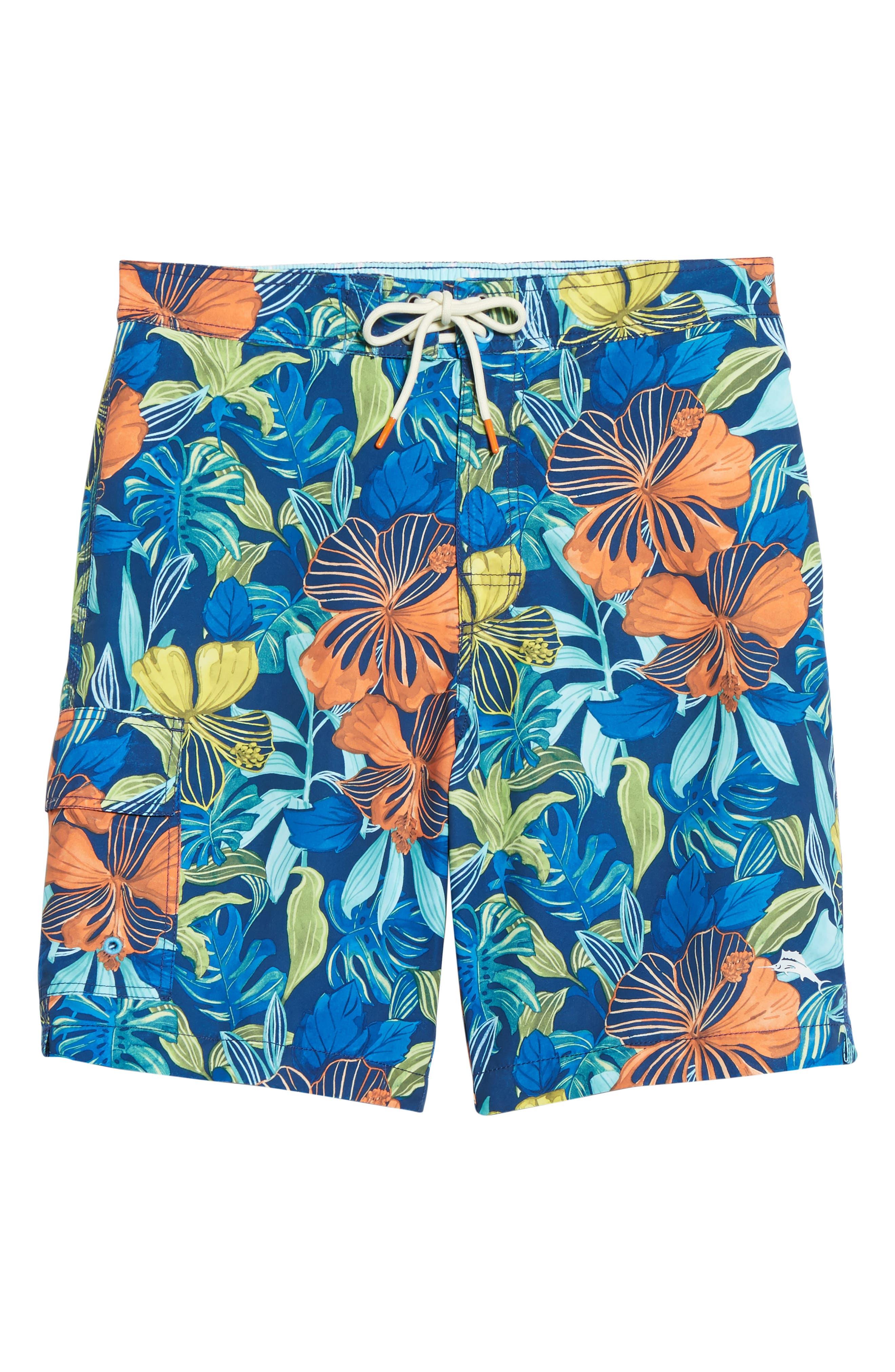 Baja Hibiscus Beach Swim Trunks,                             Alternate thumbnail 6, color,                             Kingdom Blue