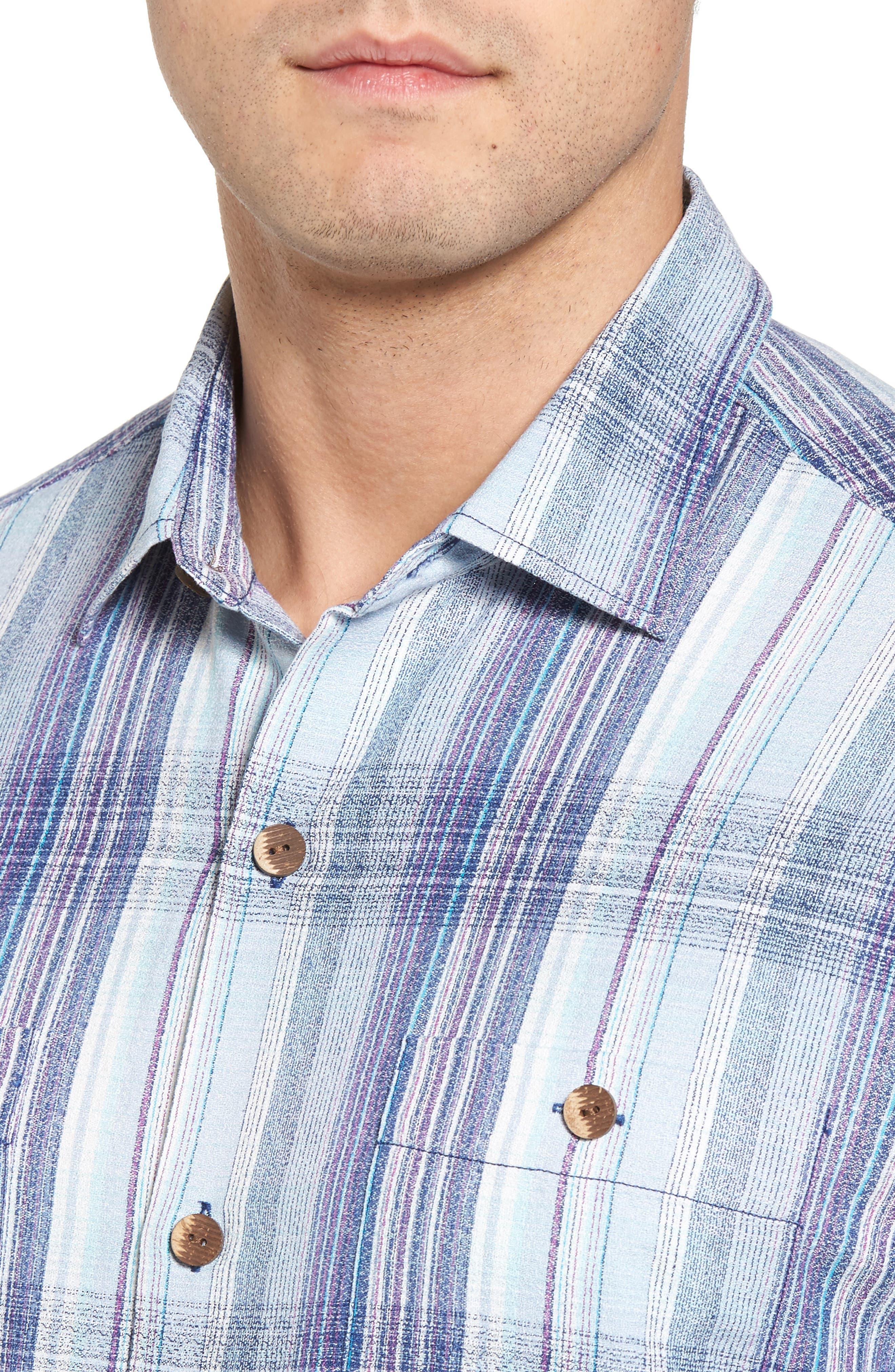 Banyan Cay Plaid Silk Blend Camp Shirt,                             Alternate thumbnail 4, color,                             Dockside Blue