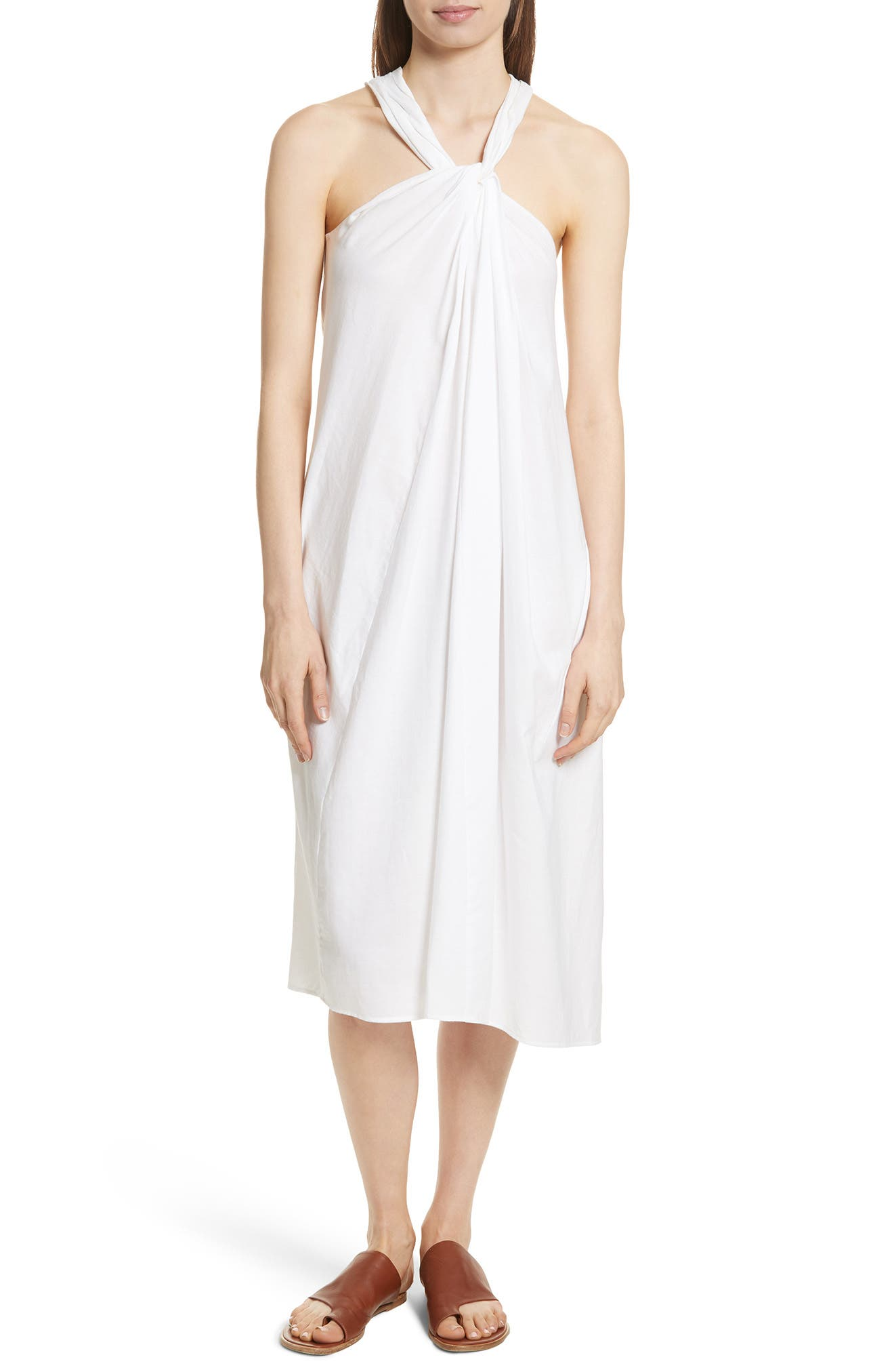 Twist Front Dress,                         Main,                         color, Optic White