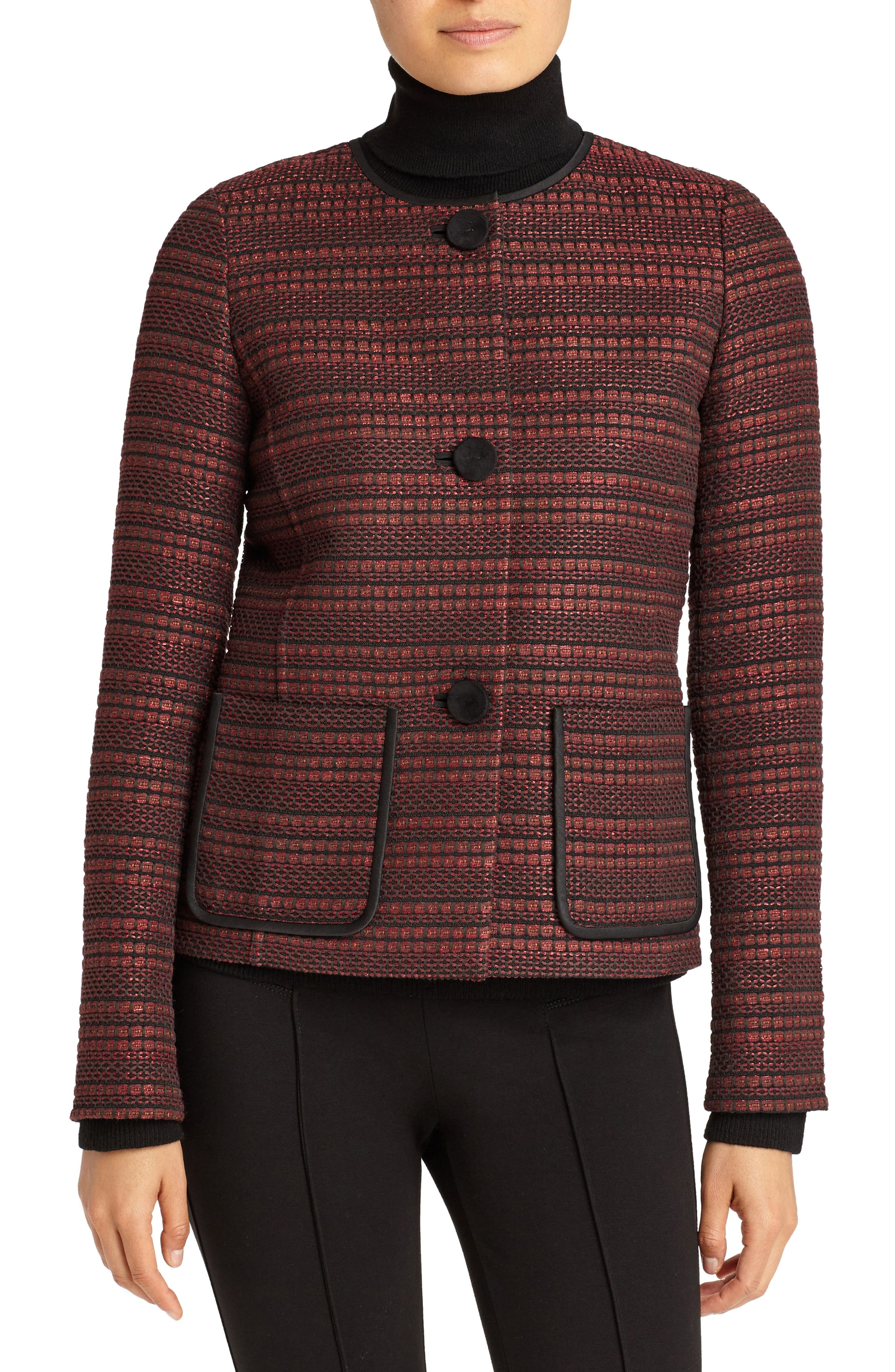 Laurence Venetian Tweed Jacket,                             Main thumbnail 1, color,                             Shiraz Multi