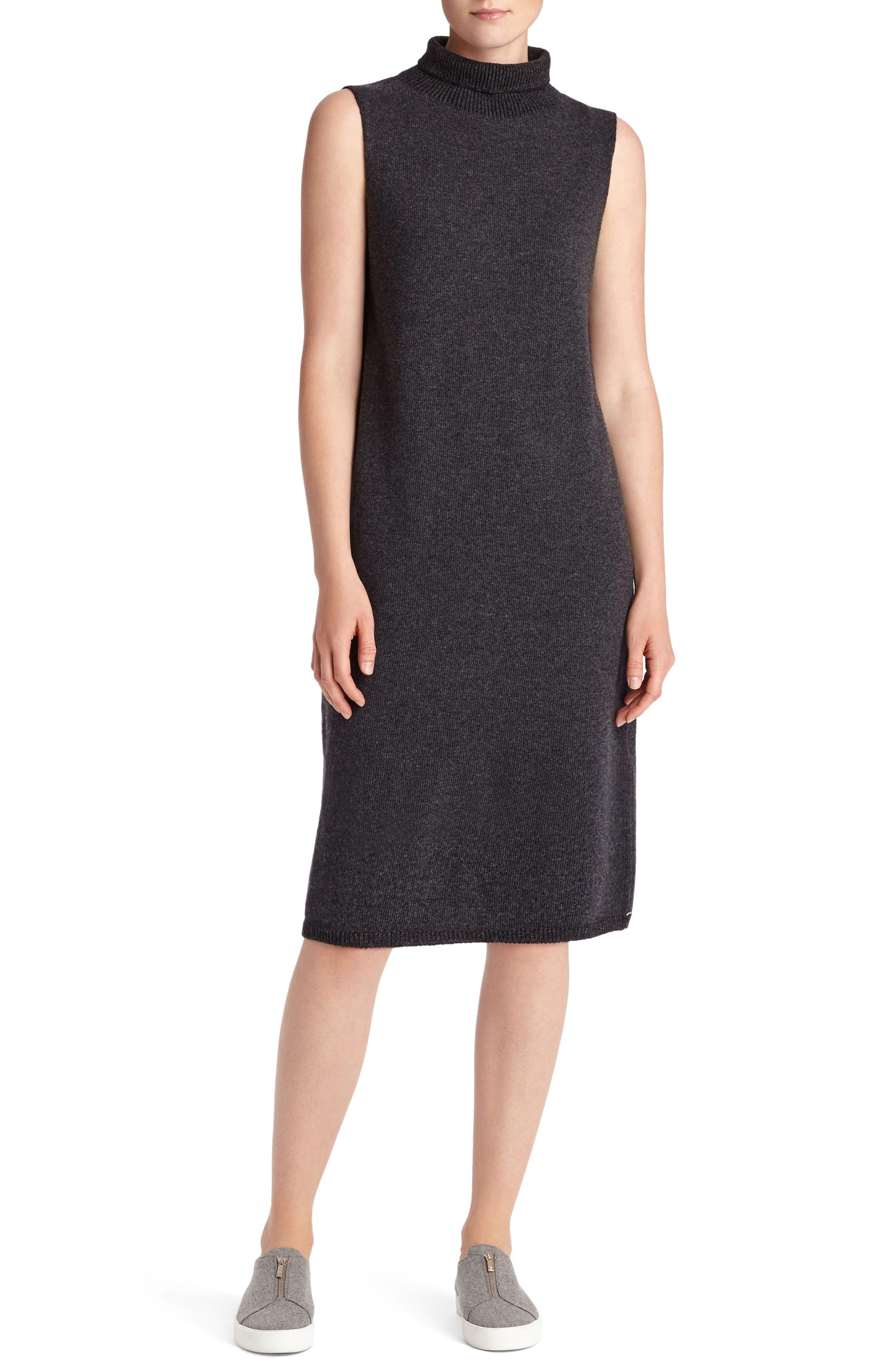 Vanise Merino Wool & Cashmere Sweater Dress,                         Main,                         color, Steel Melange