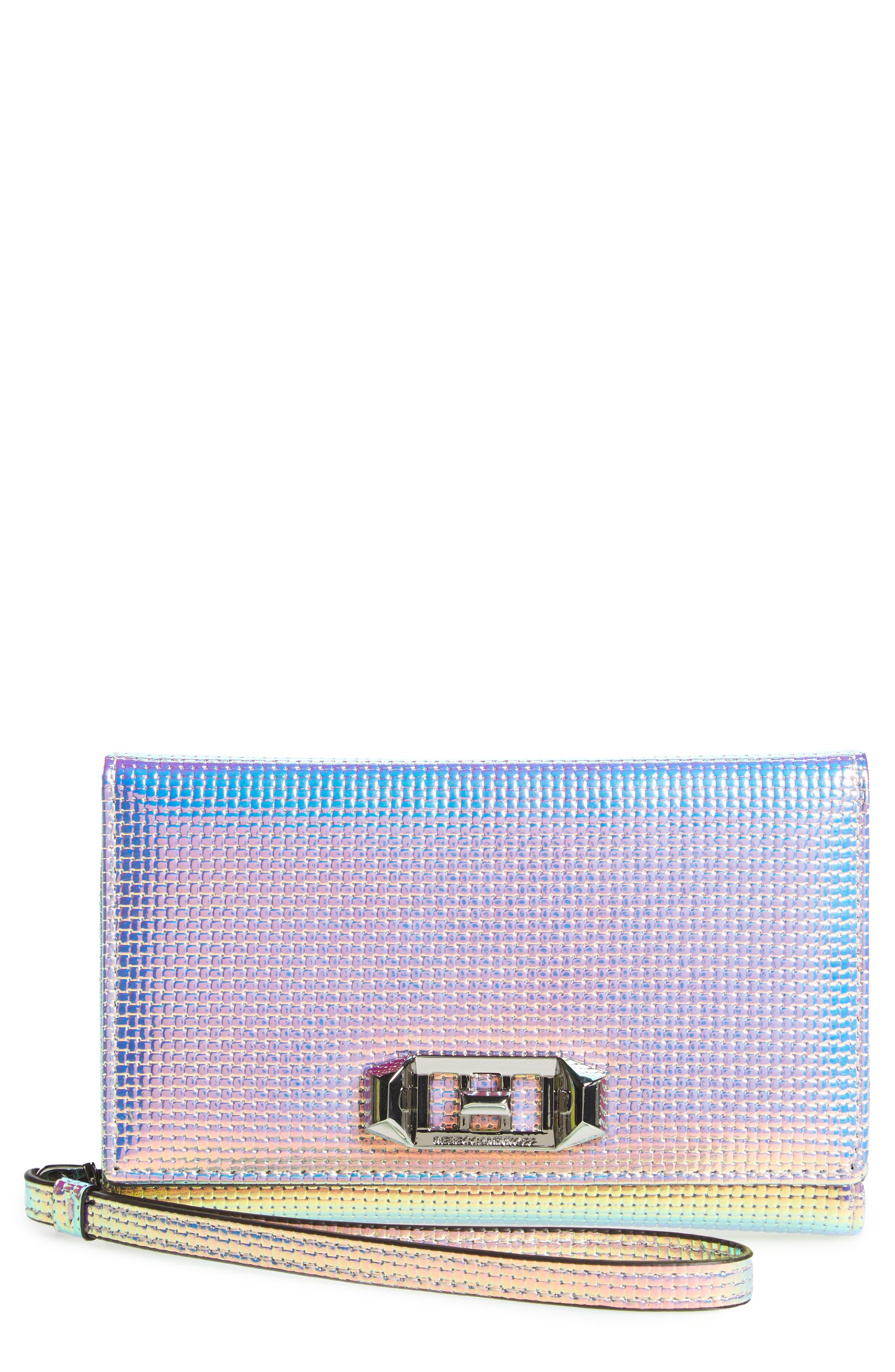 Love Lock iPhone X Metallic Leather Wristlet Folio,                         Main,                         color, Holographic