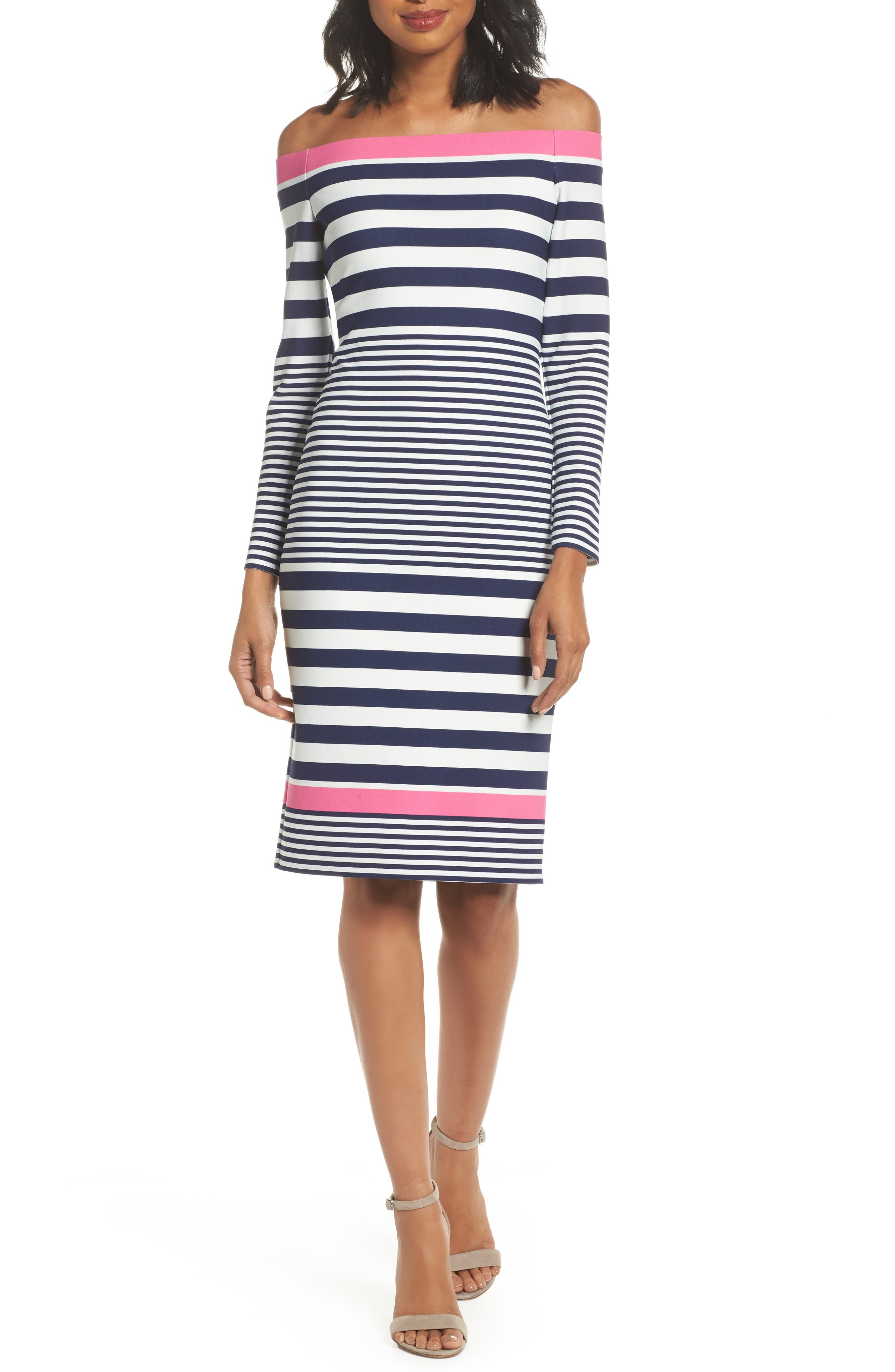 Off the Shoulder Sheath Dress,                         Main,                         color, Navy/ Pink