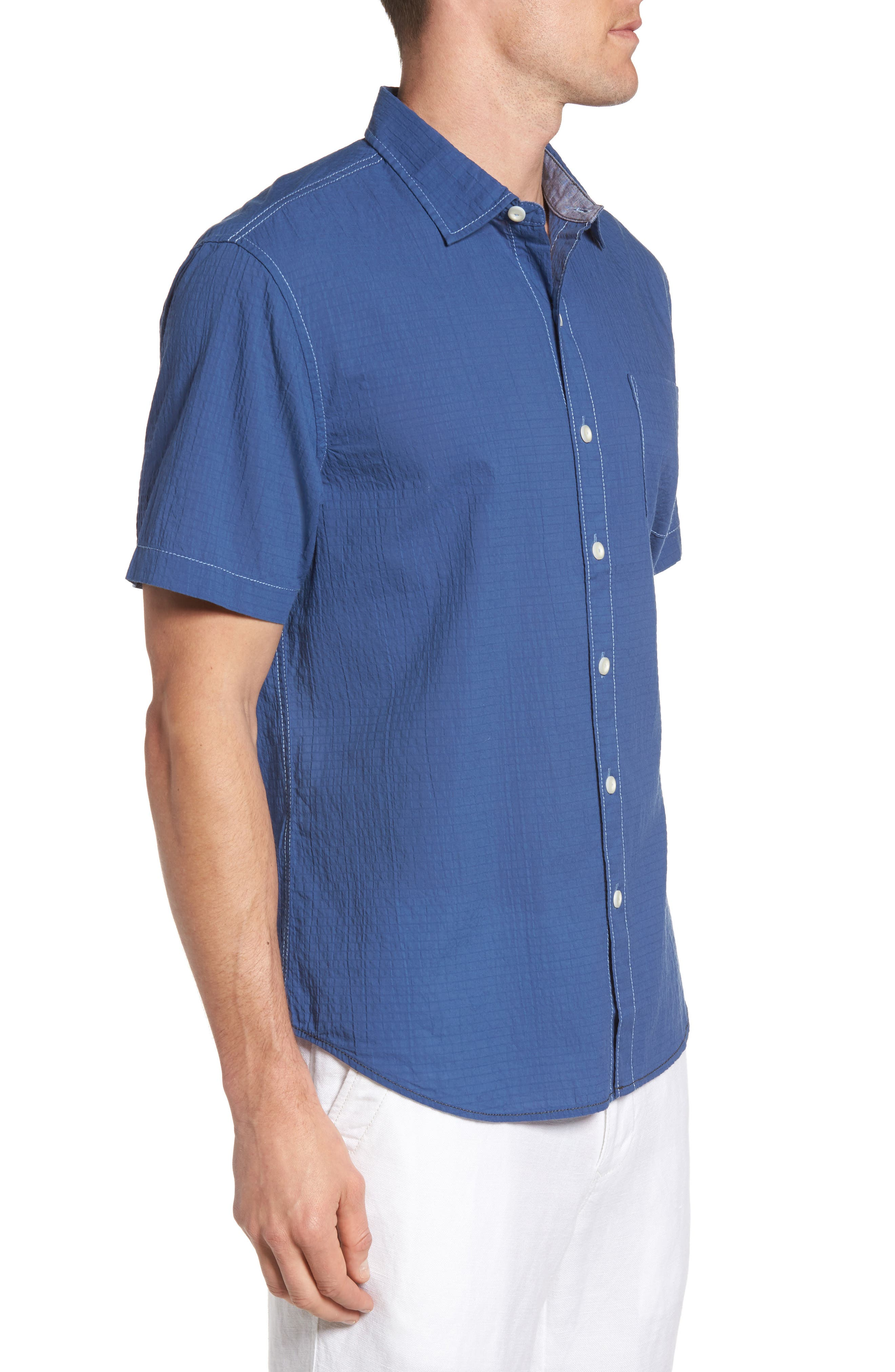 The Salvatore Sport Shirt,                             Alternate thumbnail 3, color,                             Dockside Blue