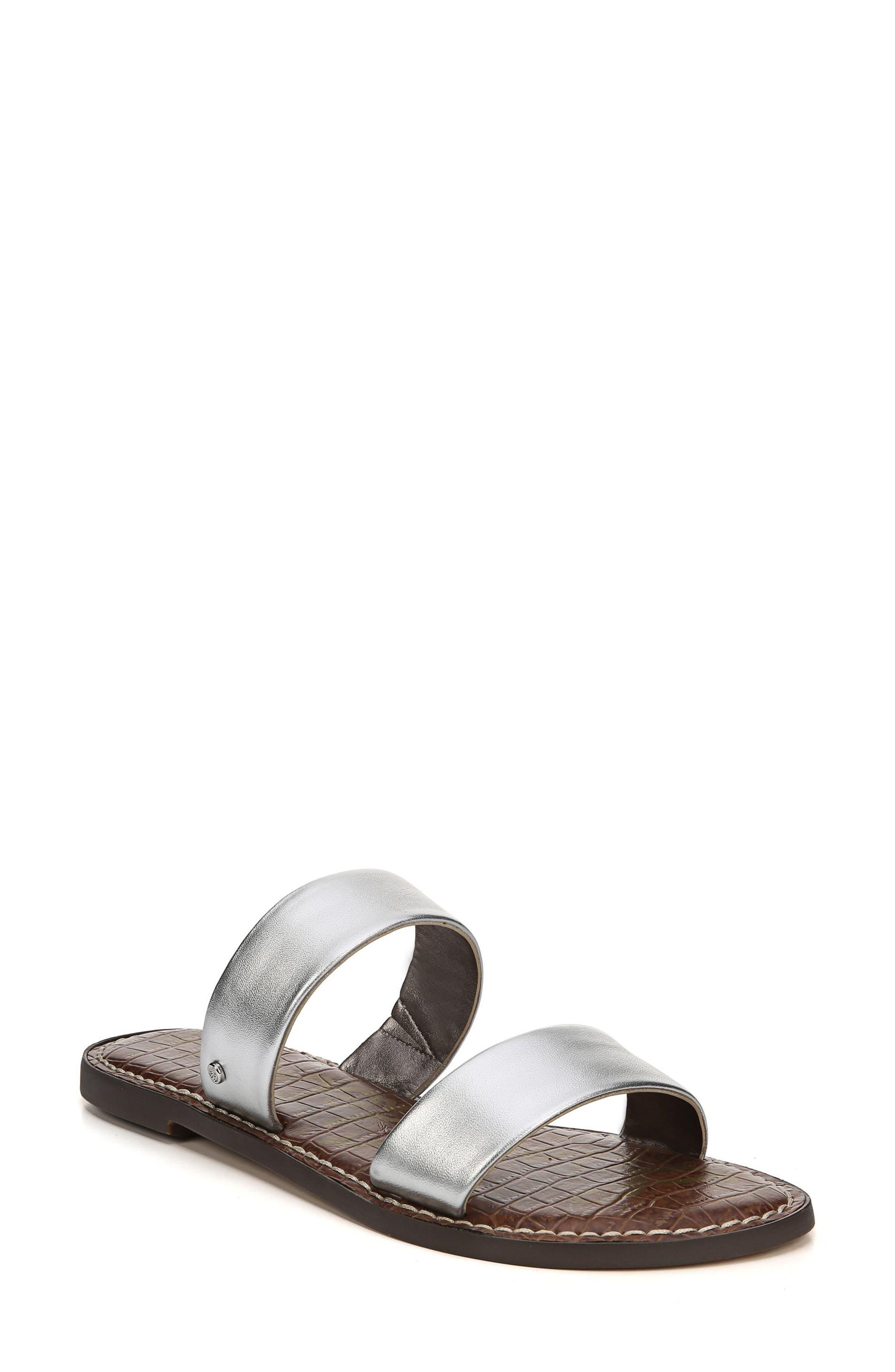 Gala Two Strap Slide Sandal,                             Main thumbnail 1, color,                             Silver Leather