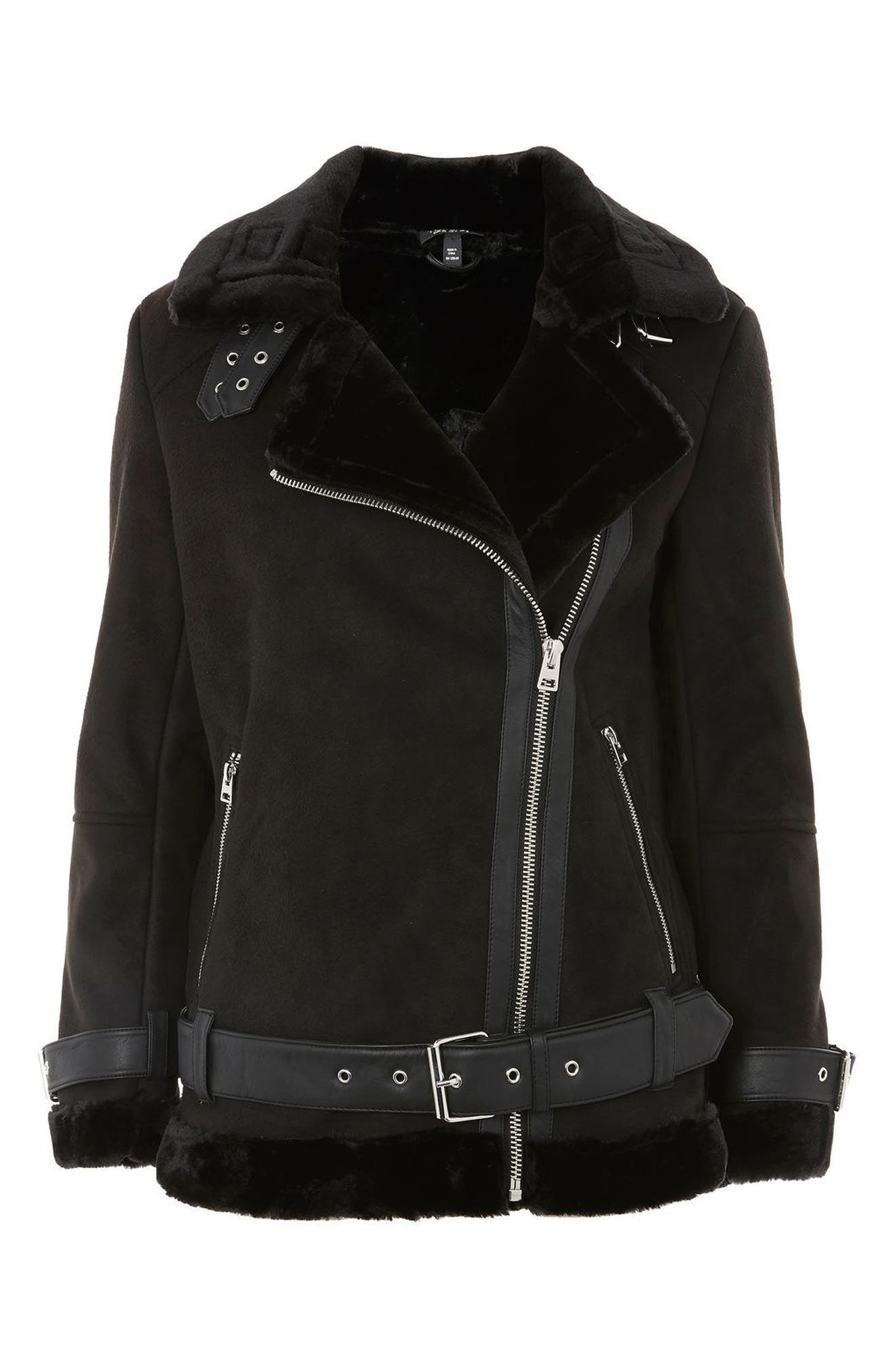 Alternate Image 5  - Topshop Faux Shearling Biker Jacket (Petite)
