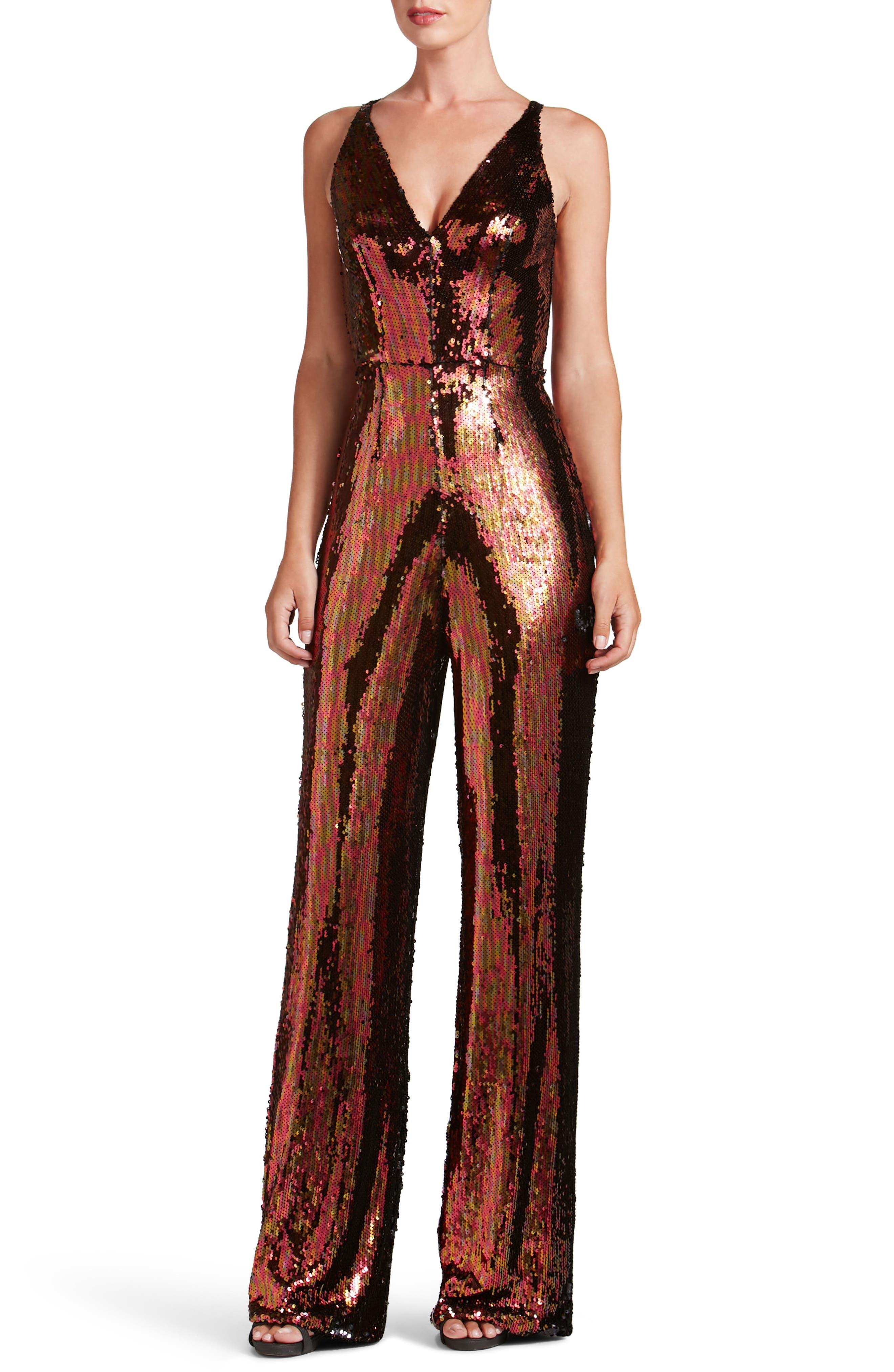 Alternate Image 1 Selected - Dress the Population Charlie Sequin Jumpsuit