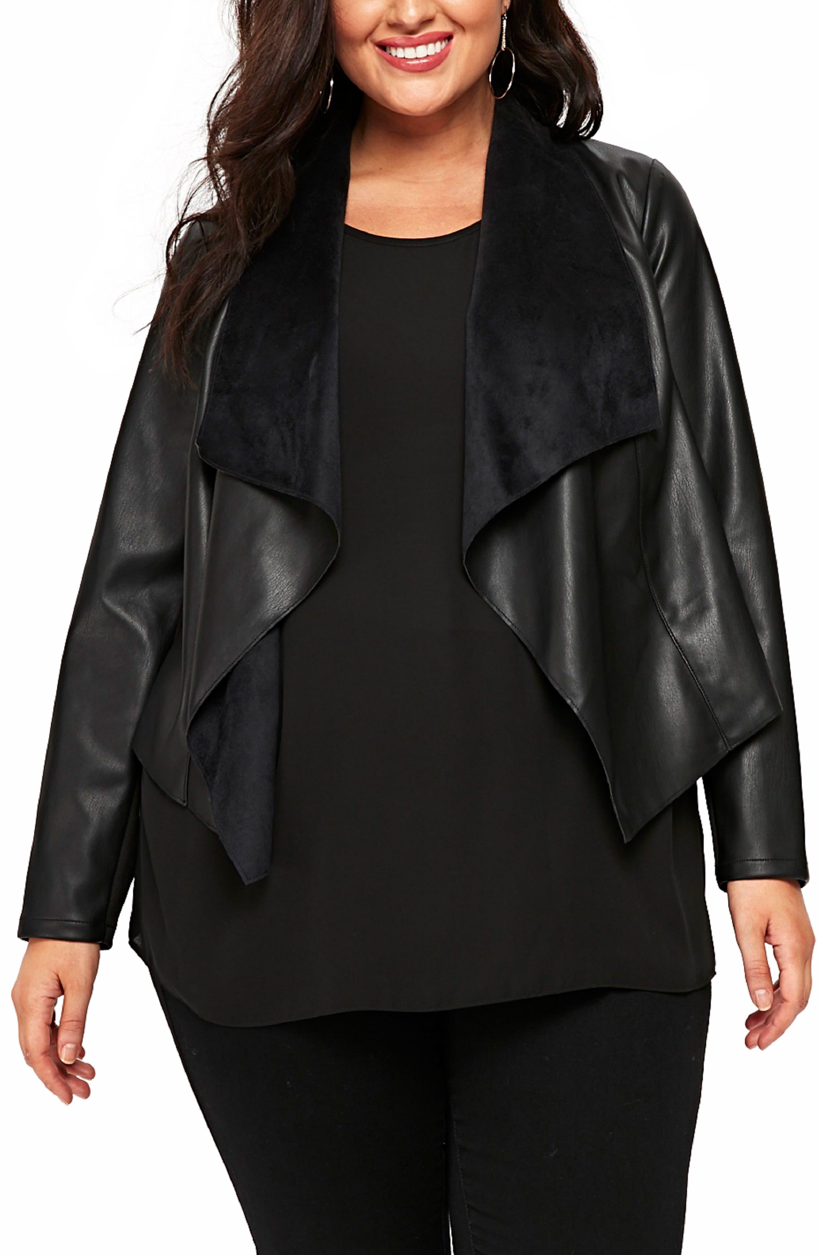 Drape Lapel Faux Leather Jacket,                         Main,                         color, Black