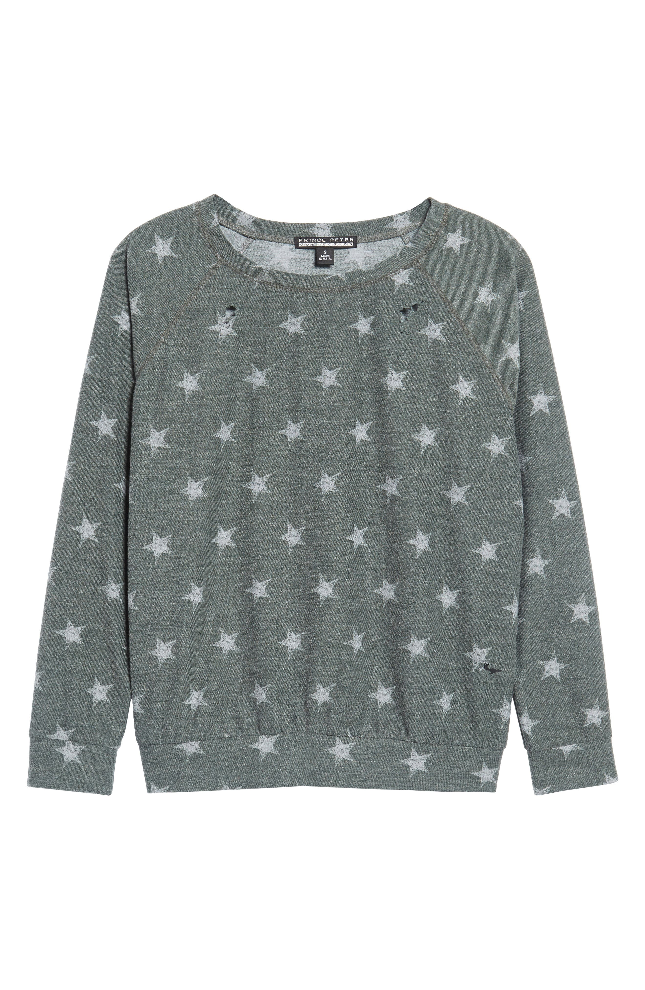 All Over Stars Pullover,                             Alternate thumbnail 6, color,                             Olive