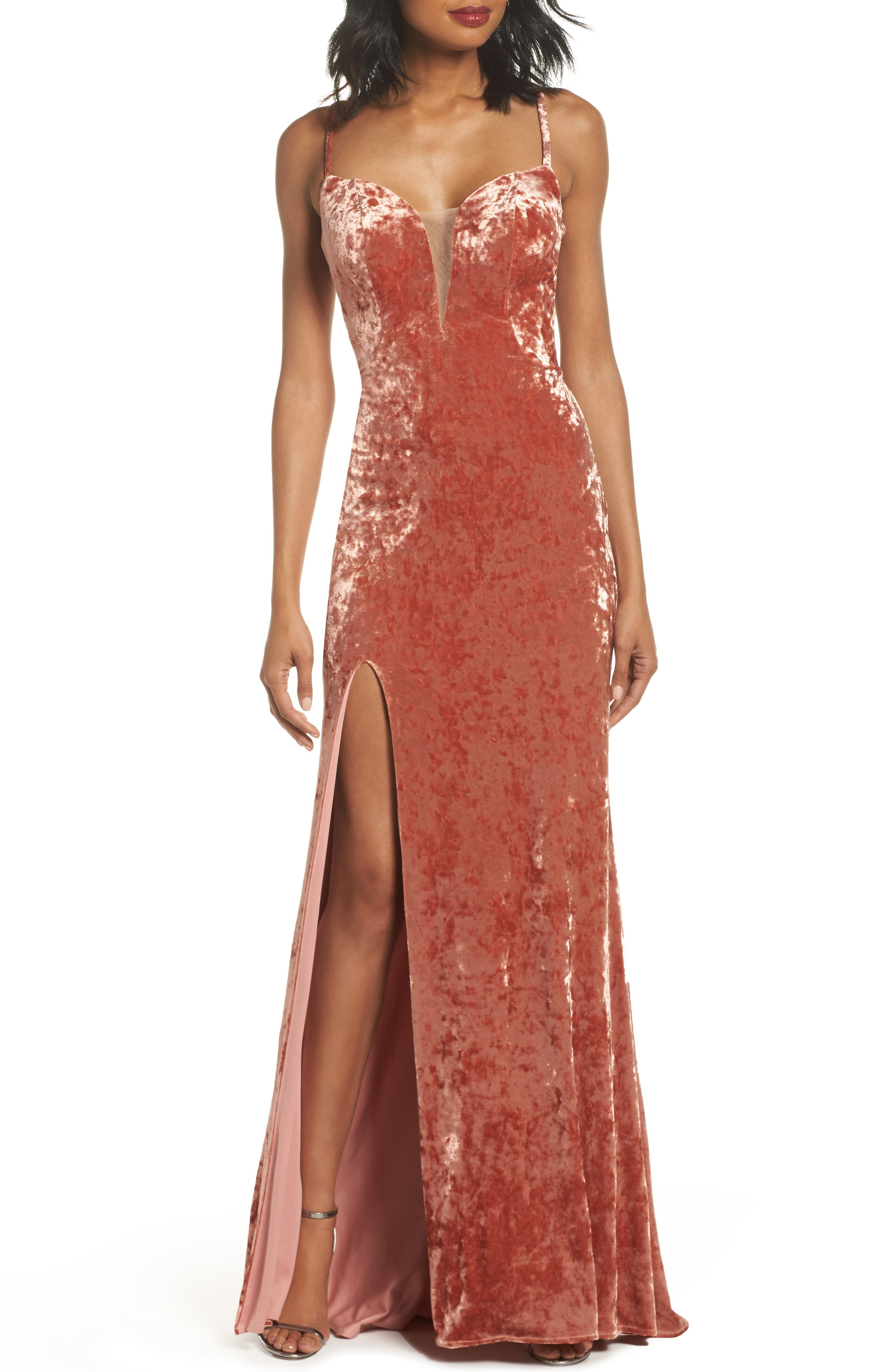 Crushed Velvet Sheath Gown,                         Main,                         color, Blush