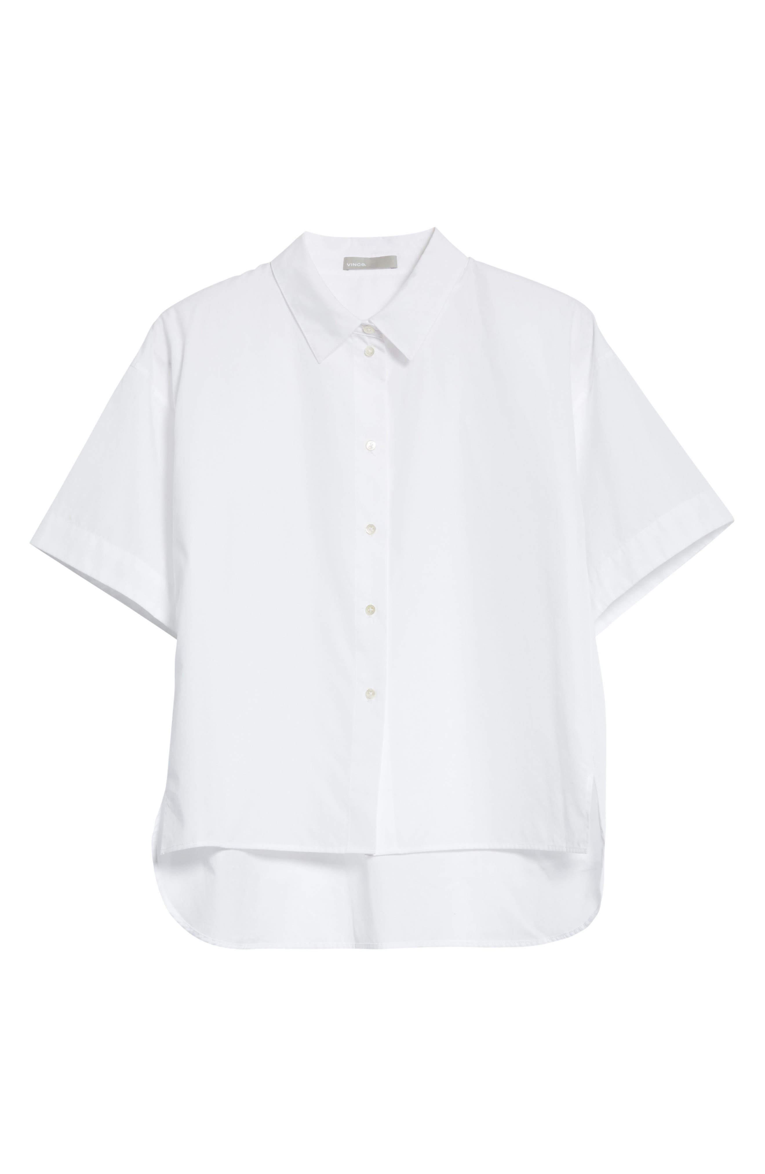 Short Sleeve Cotton Shirt,                             Alternate thumbnail 6, color,                             Optic White