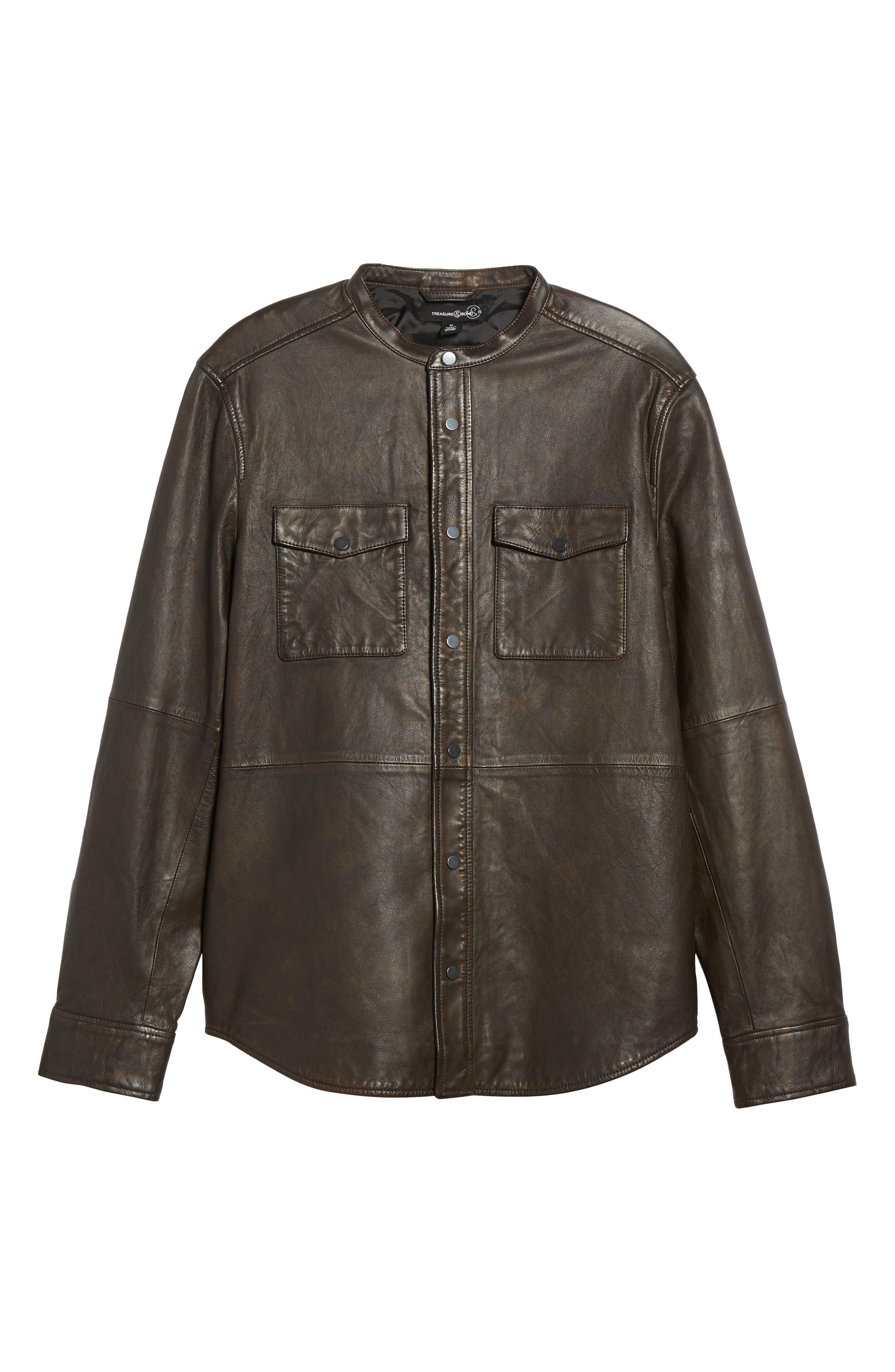 Atwater Leather Shirt Jacket,                             Alternate thumbnail 6, color,                             Brown Chicory