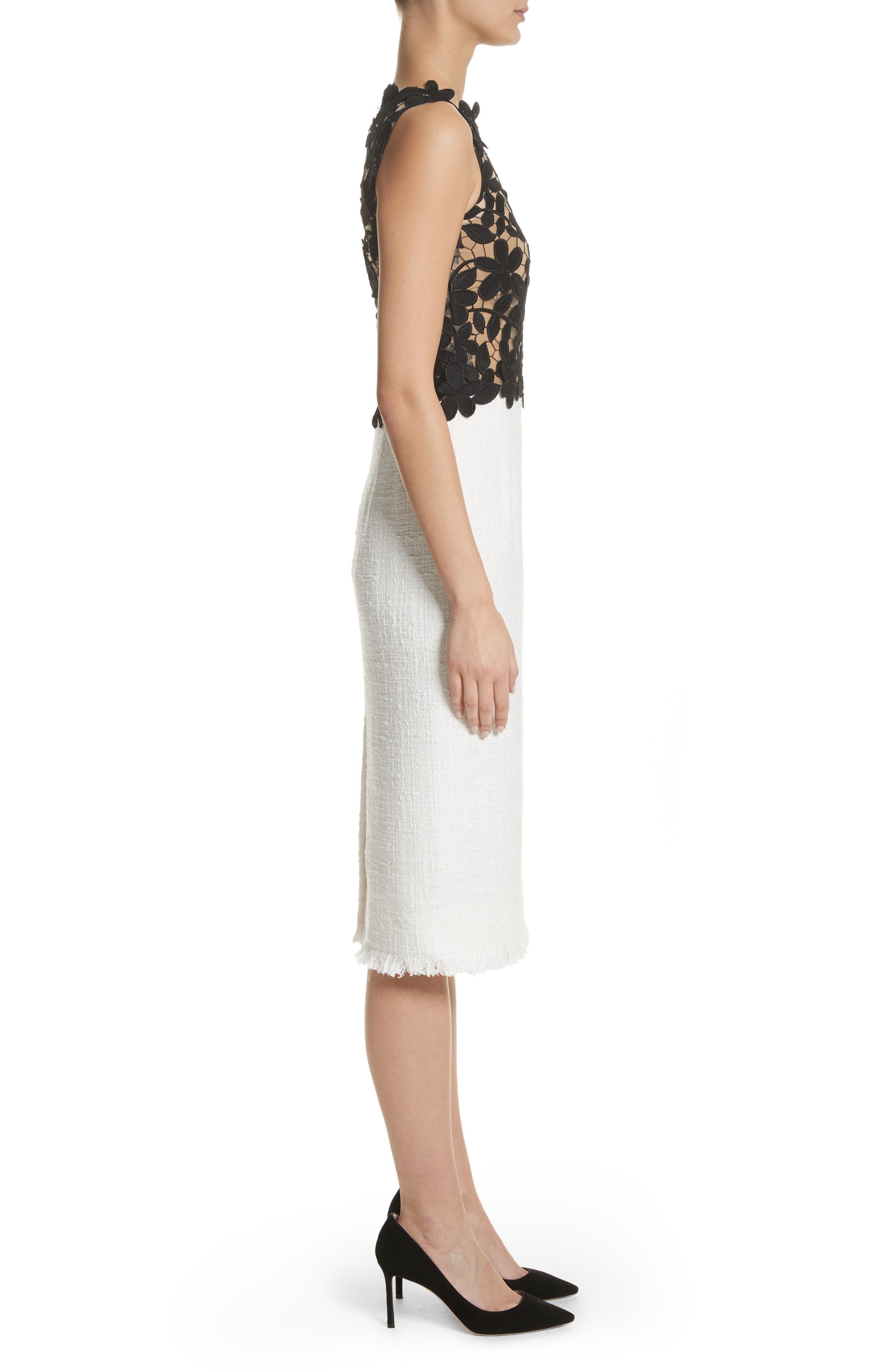 Lace Bodice Sheath Dress,                             Alternate thumbnail 3, color,                             Black/ White