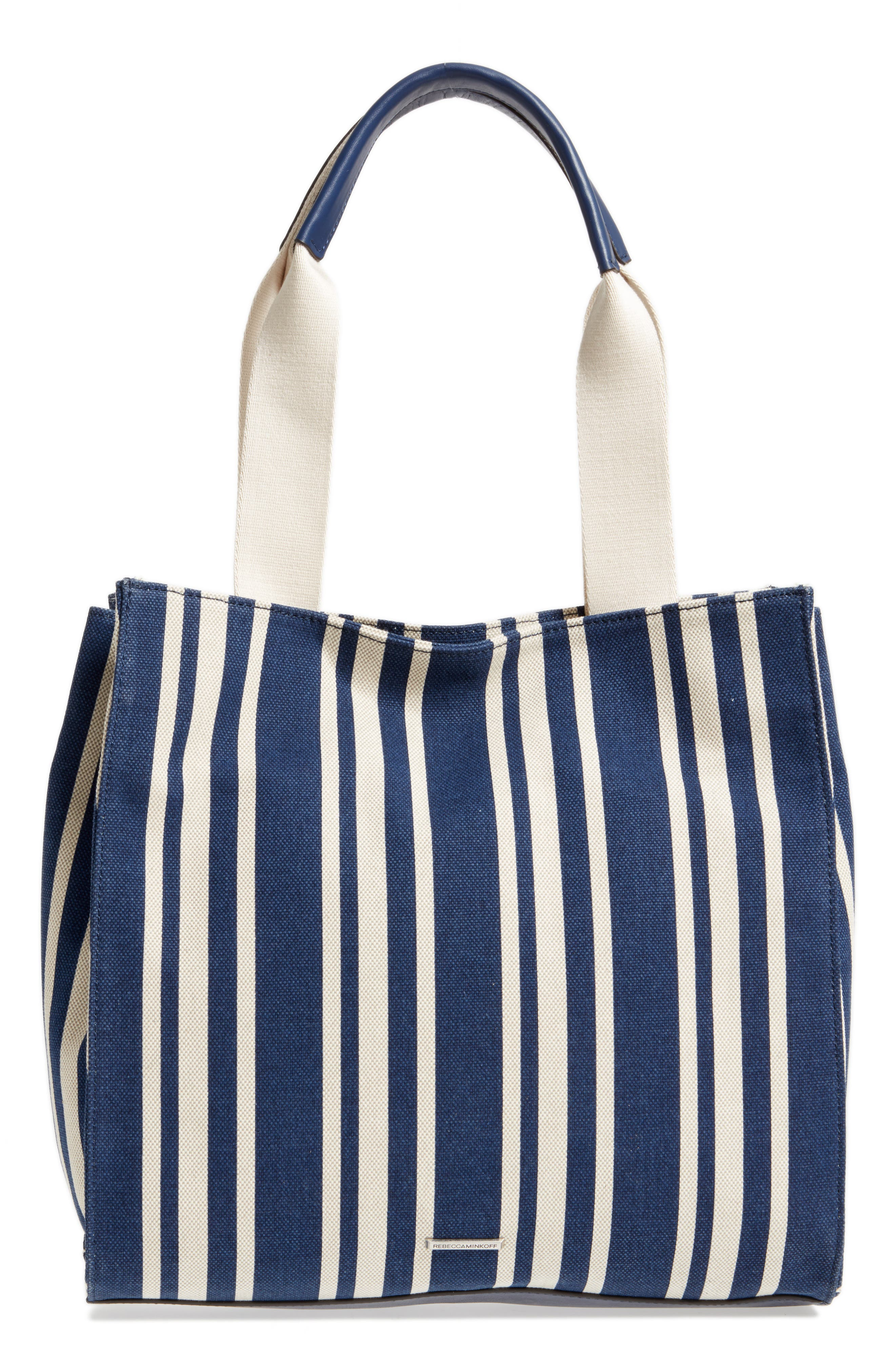Darren Stripe Canvas Tote,                             Alternate thumbnail 4, color,                             Navy Stripe