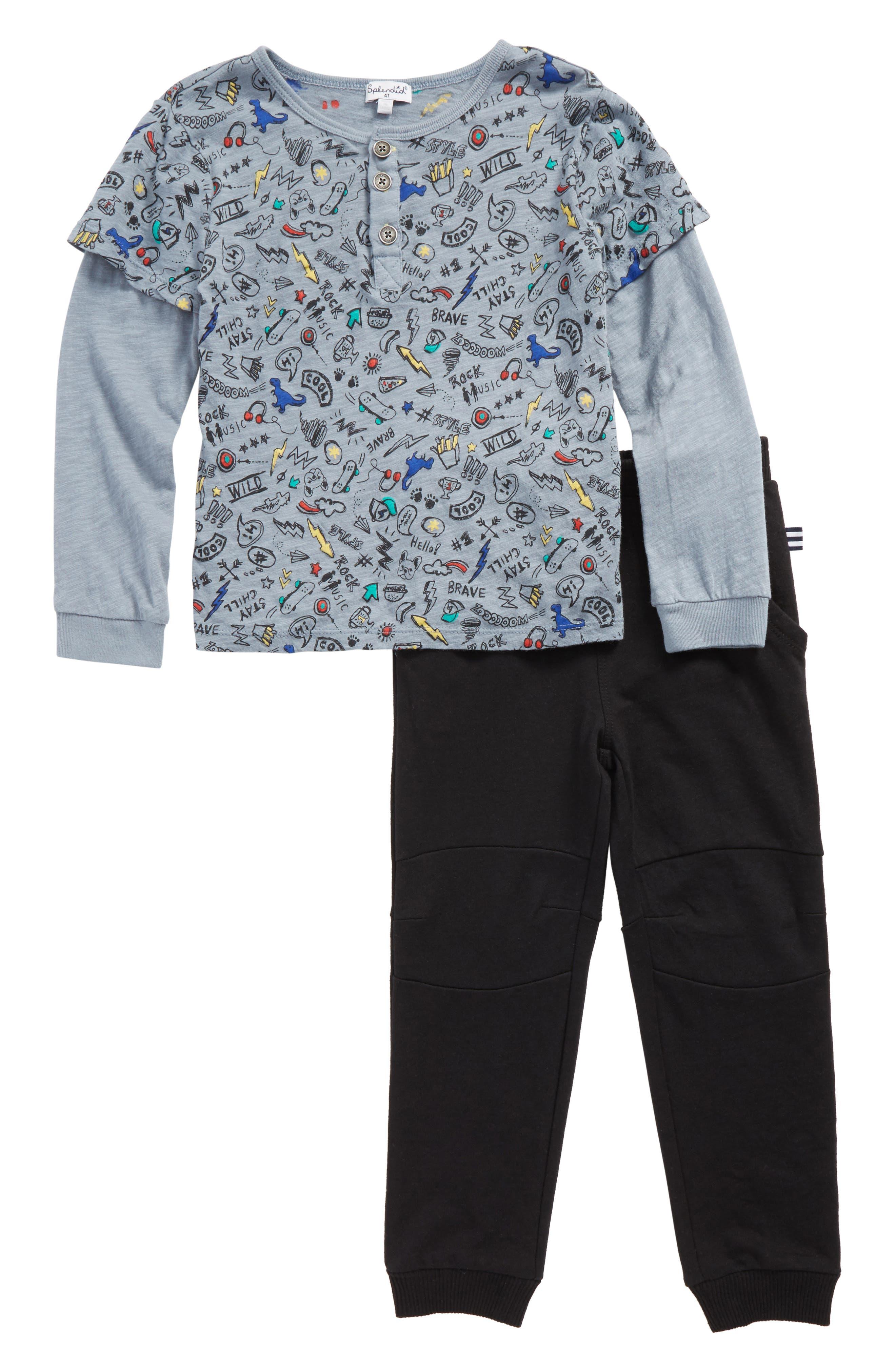 Alternate Image 1 Selected - Splendid T-Shirt & Sweatpants (Baby Boys)