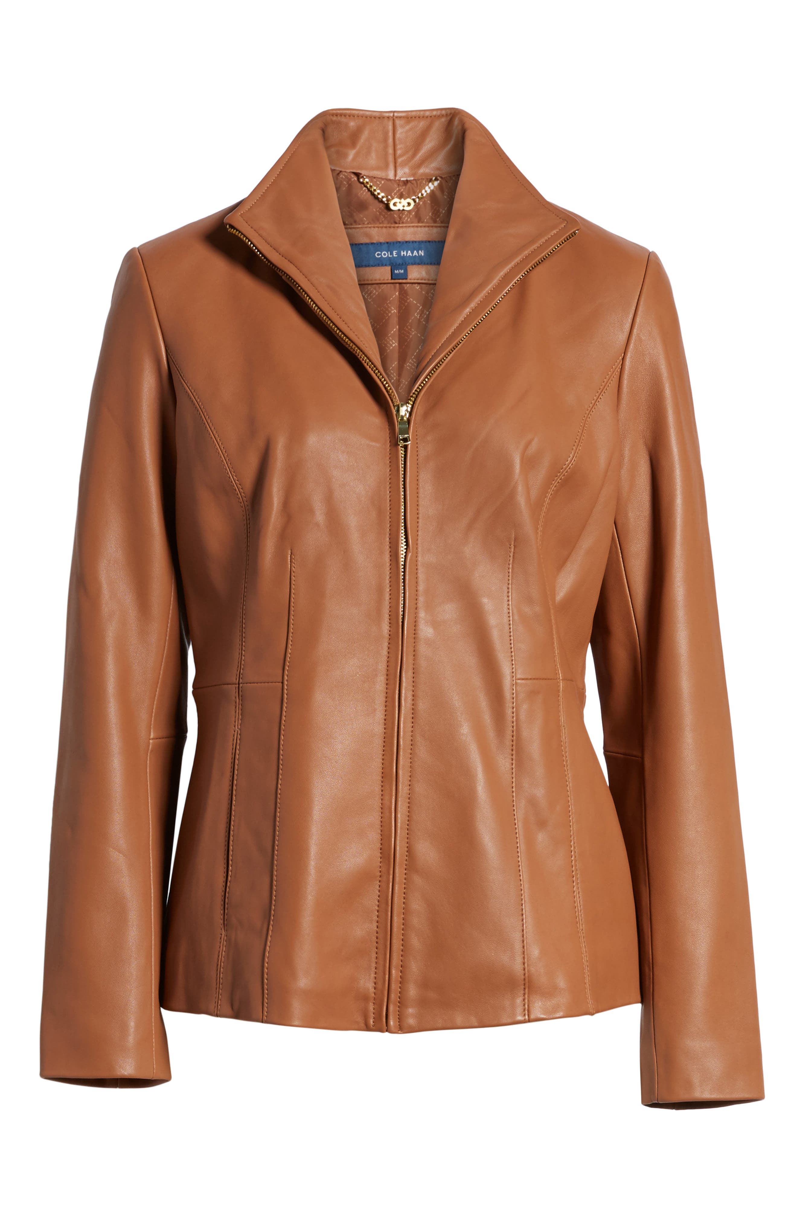Leather Jacket,                             Alternate thumbnail 6, color,                             Cognac