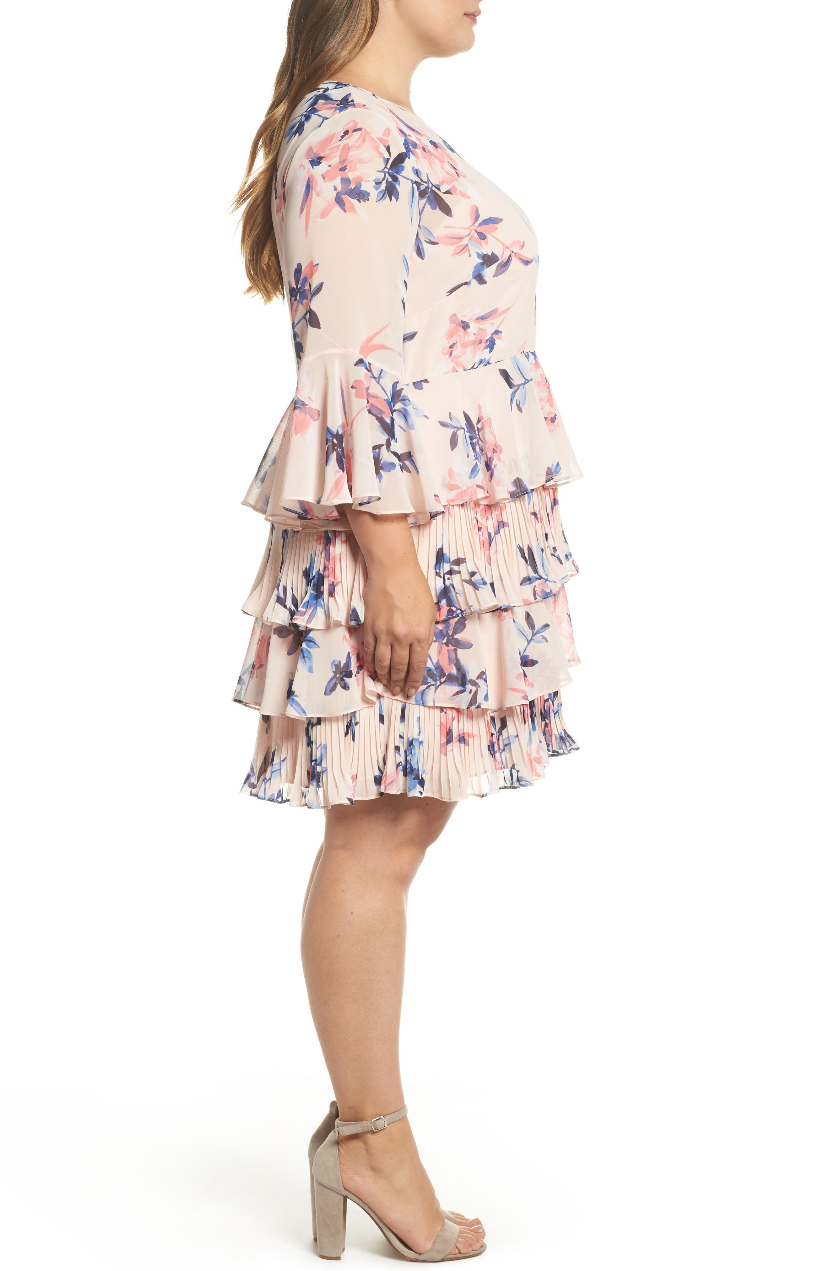 Bell Sleeve Tiered Ruffle Dress,                             Alternate thumbnail 4, color,                             Blush