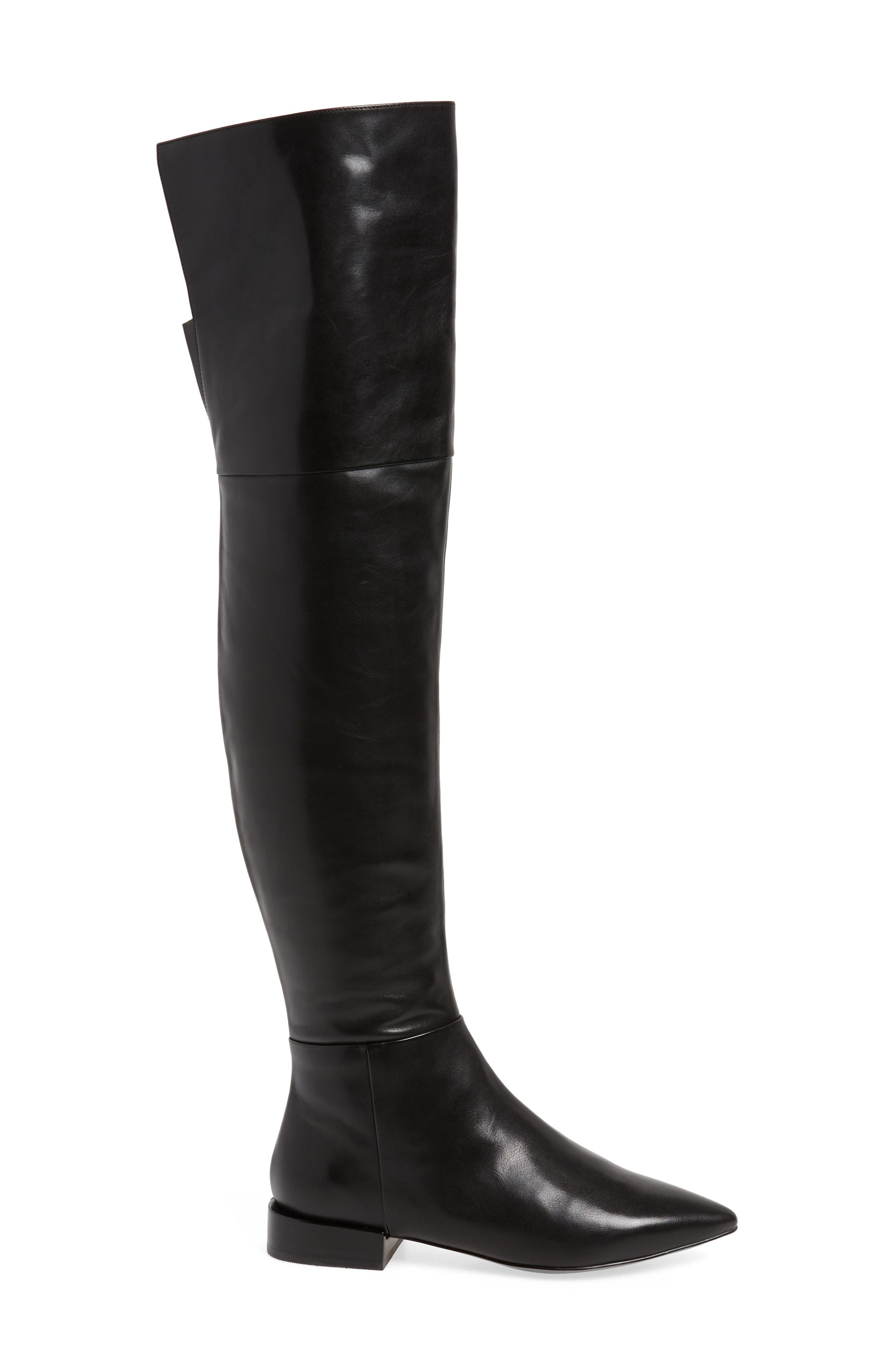 Kiki Over the Knee Boot,                             Alternate thumbnail 3, color,                             Black Leather