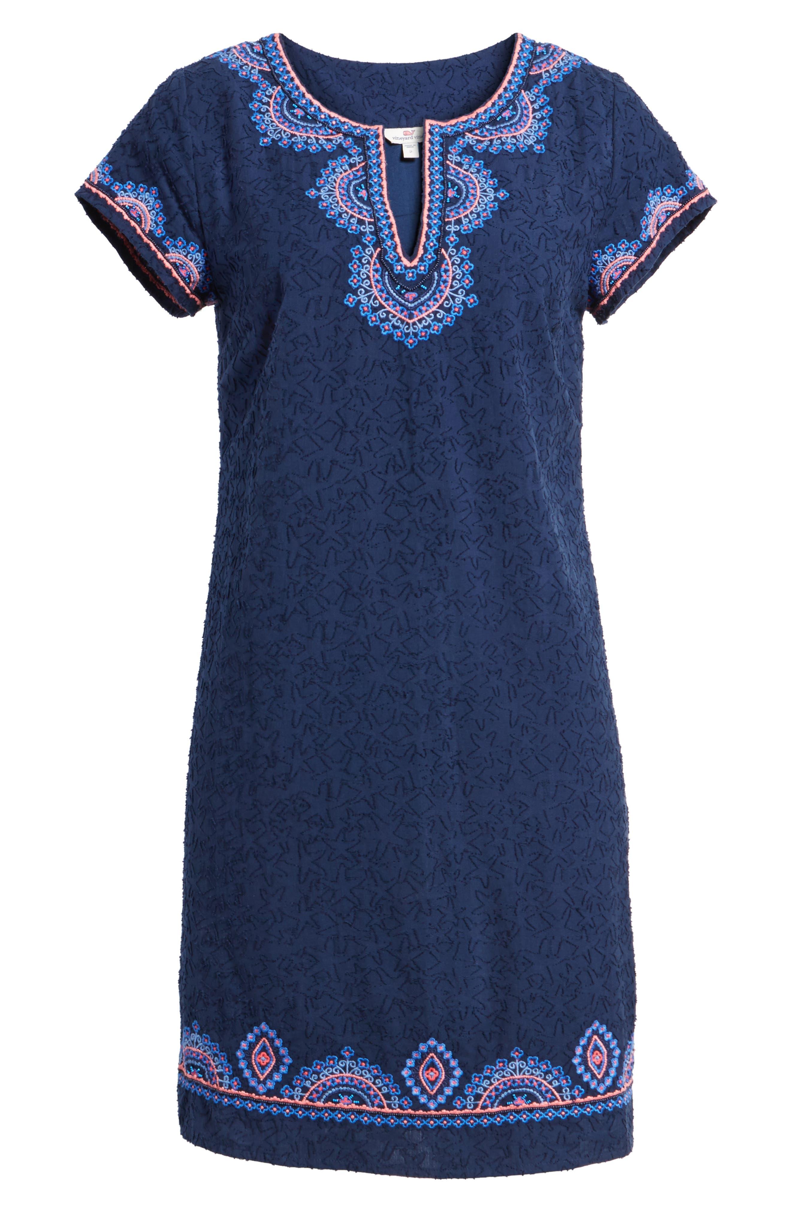 Starfish Burnout Tunic Dress,                             Alternate thumbnail 6, color,                             Deep Bay